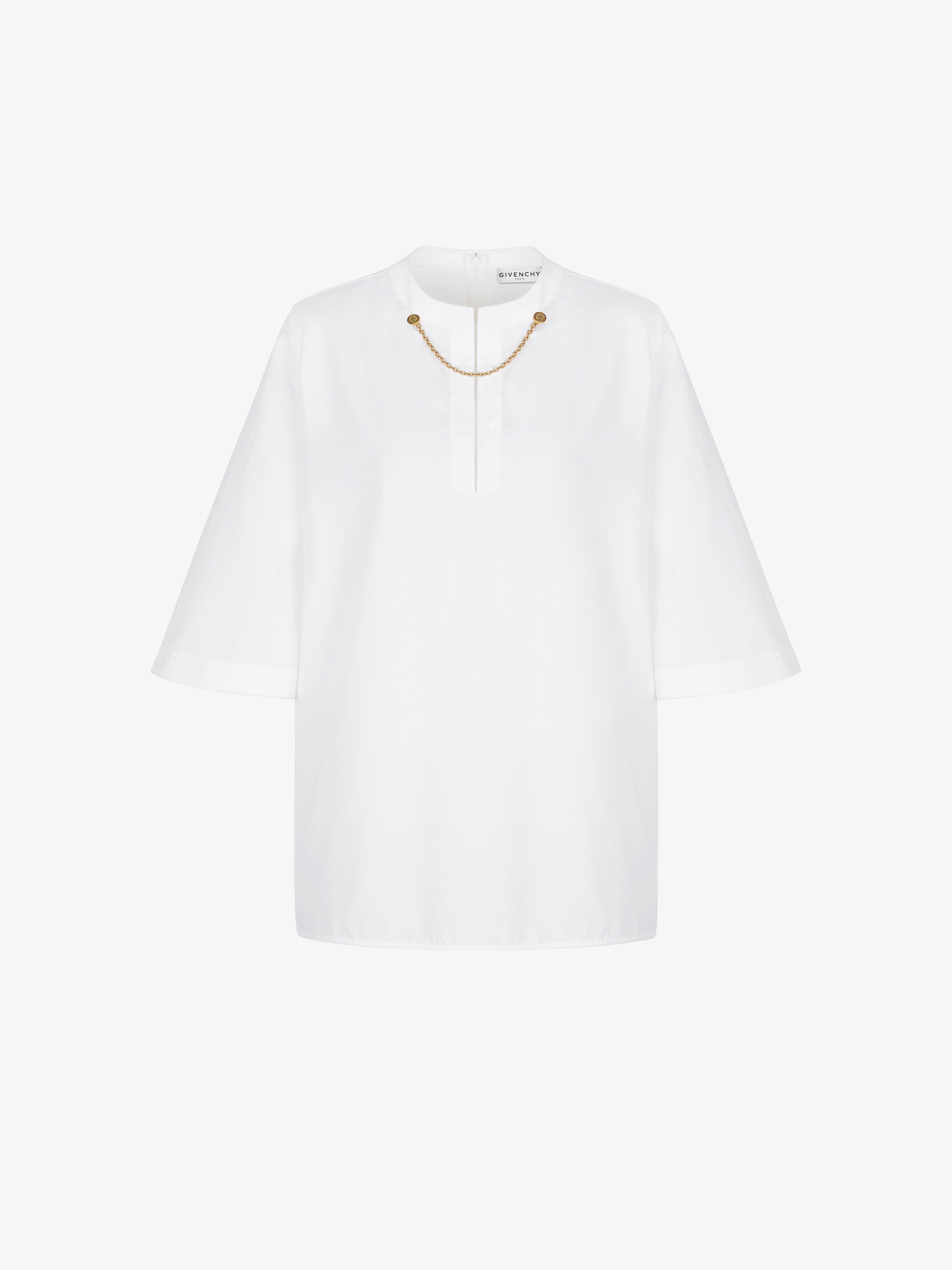Blouse in cotton with chain collar