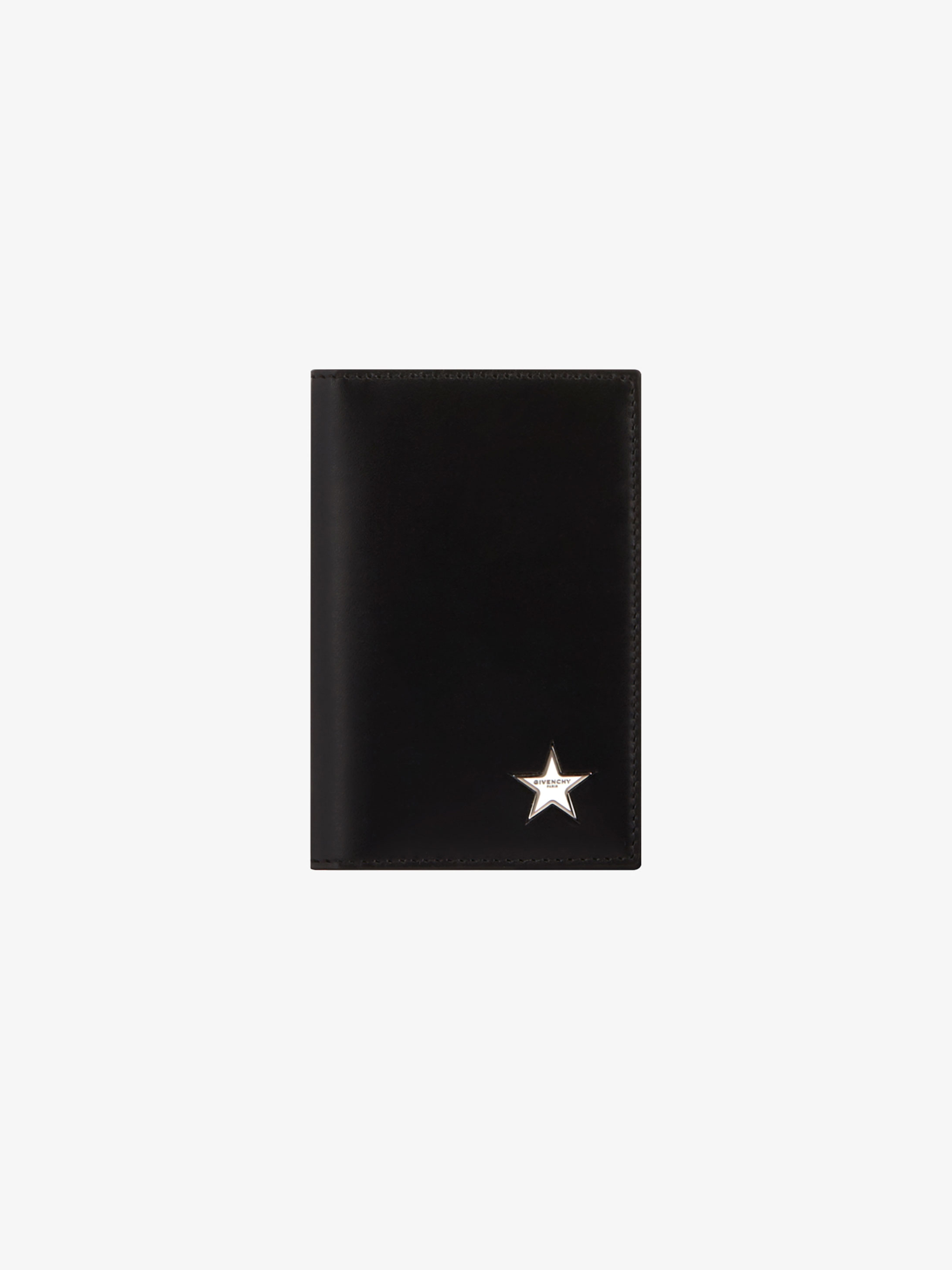 Metallic star wallet in leather
