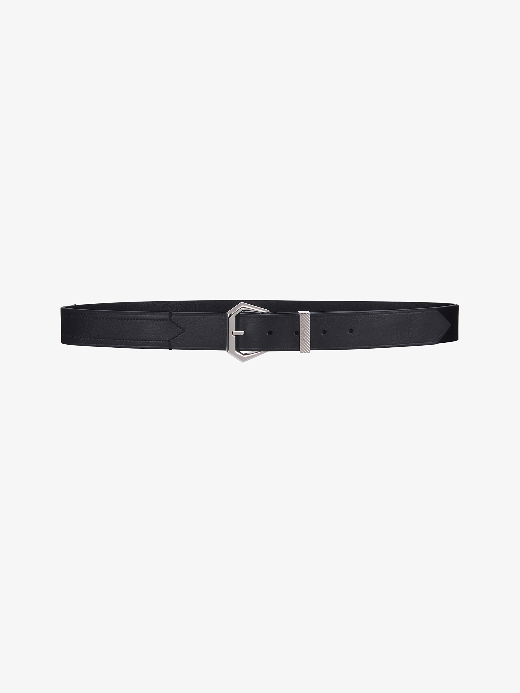 Hexagonal buckle belt in leather