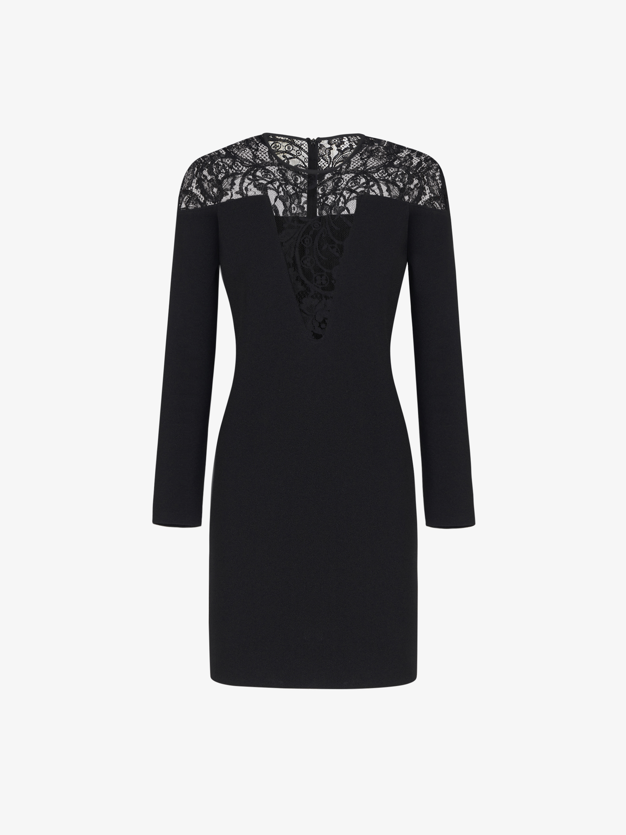 Dress in viscose and lace