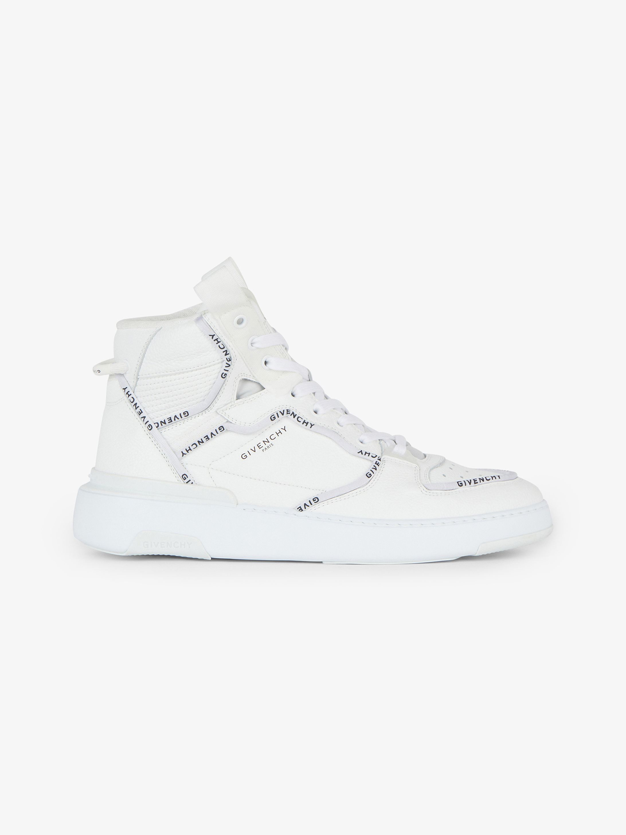 GIVENCHY wing mid sneakers in leather with pipping