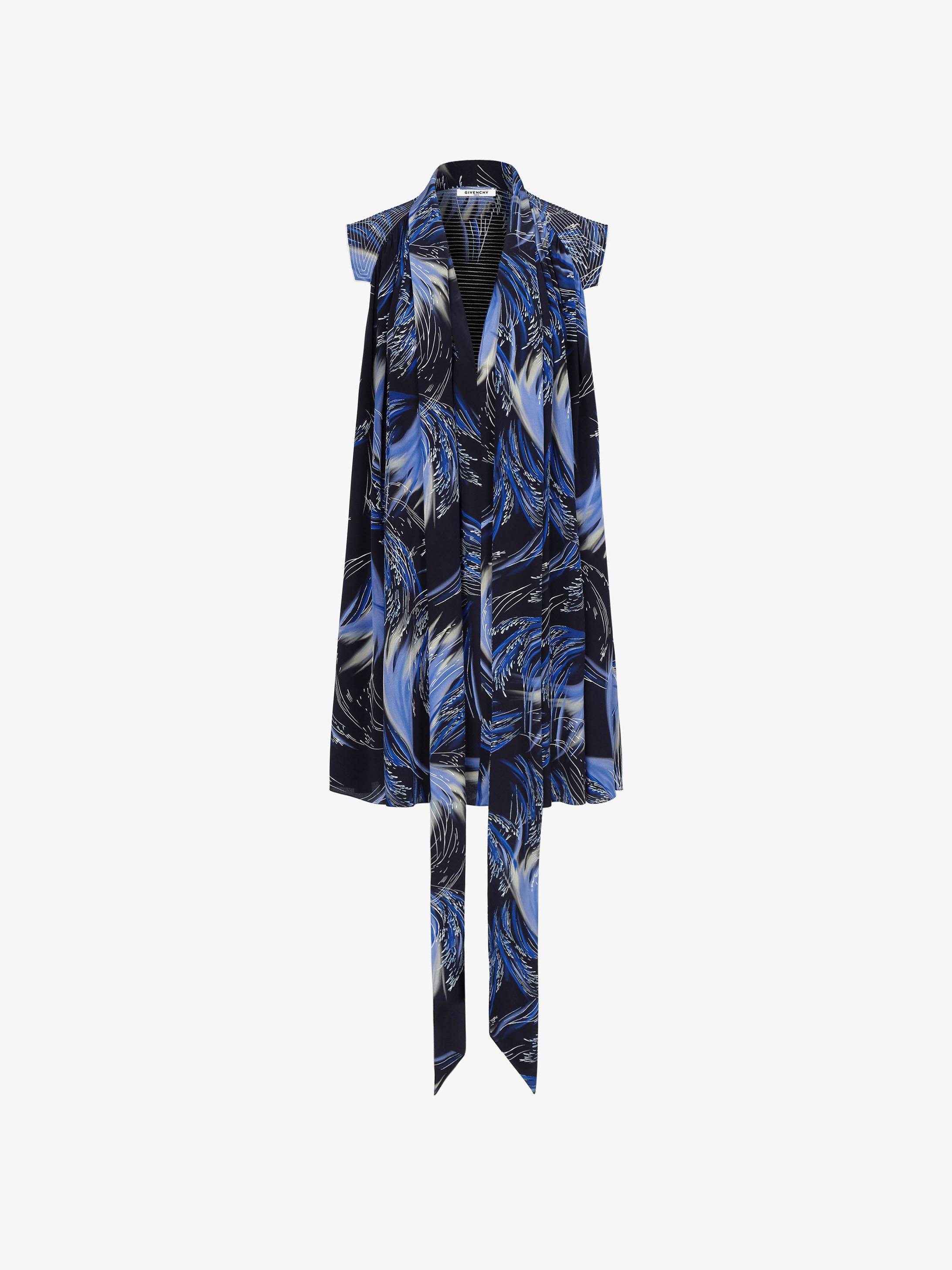 Robe courte imprimée Vagues à col foulard