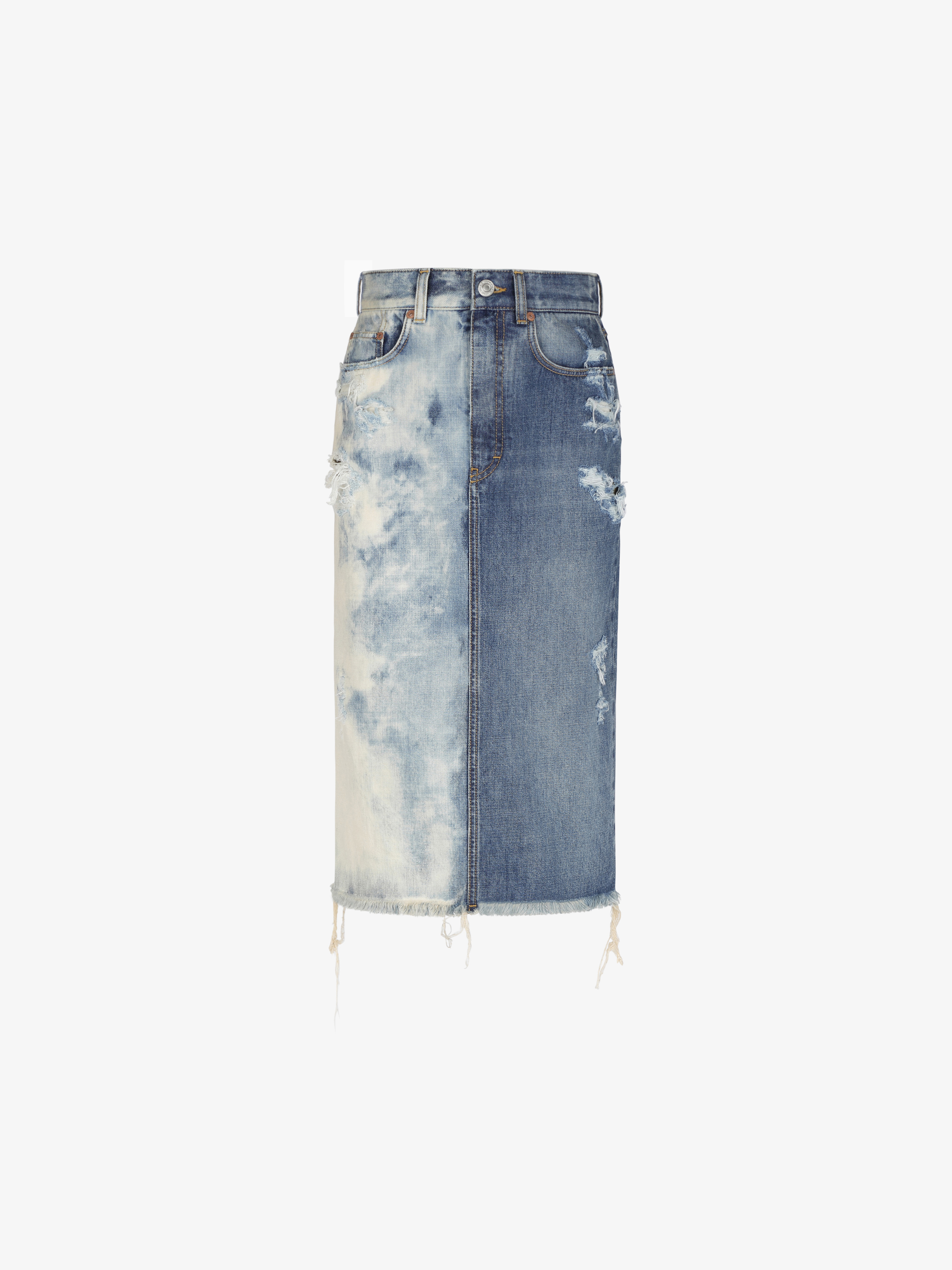 Straight skirt in destroyed two tone denim