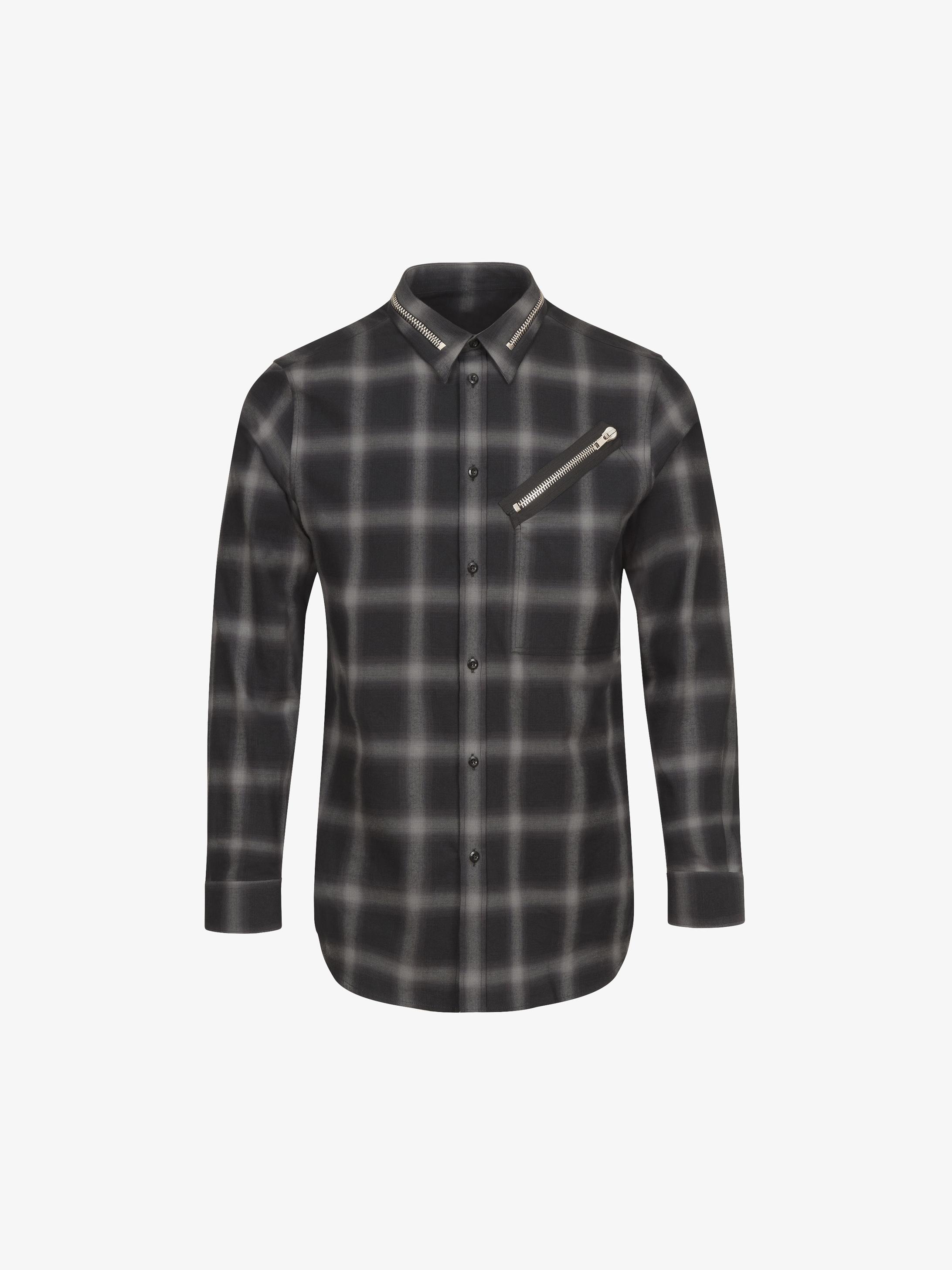 Zips details slim fit shirt