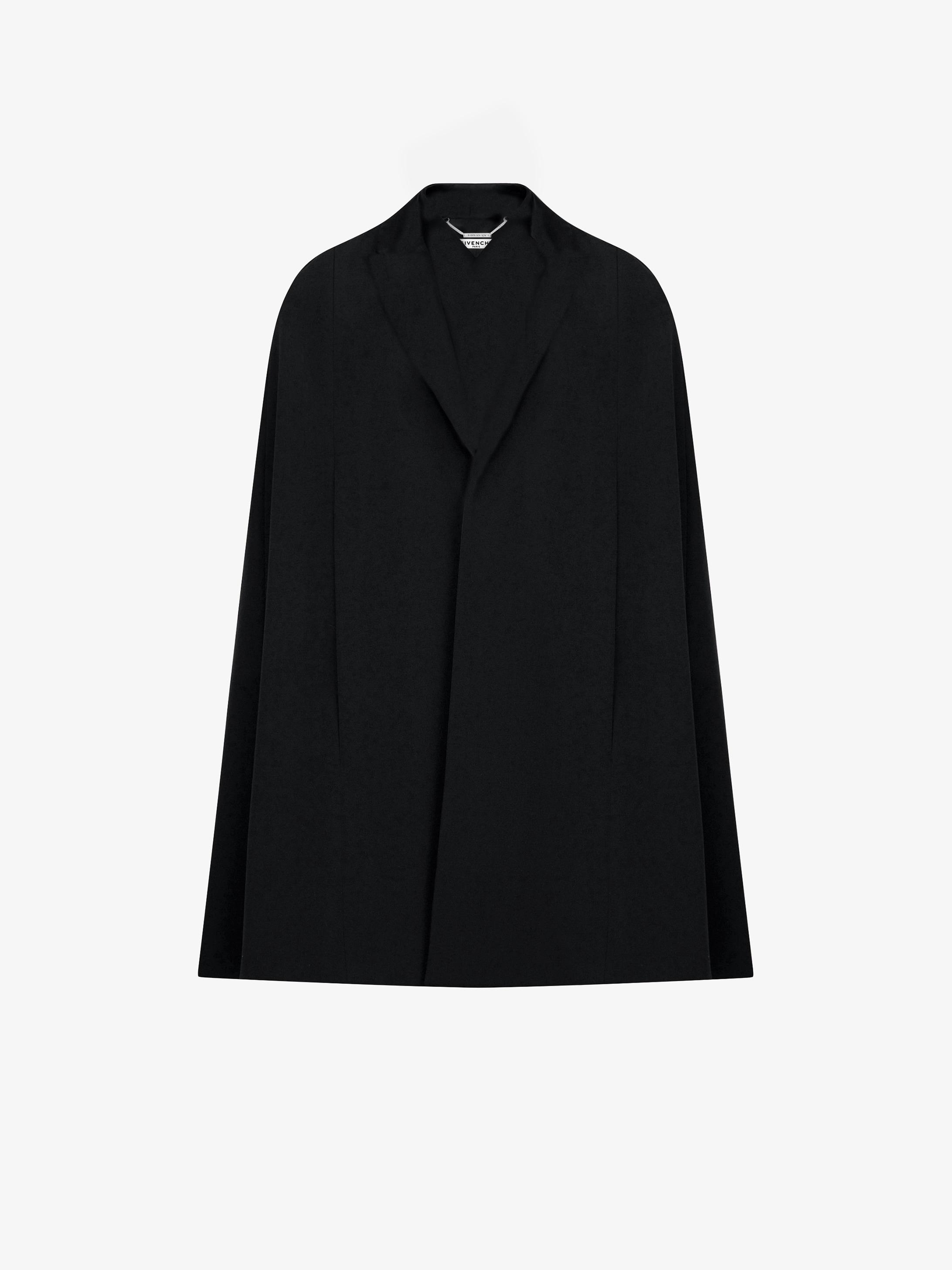 Cashmere cape-coat with tuxedo collar