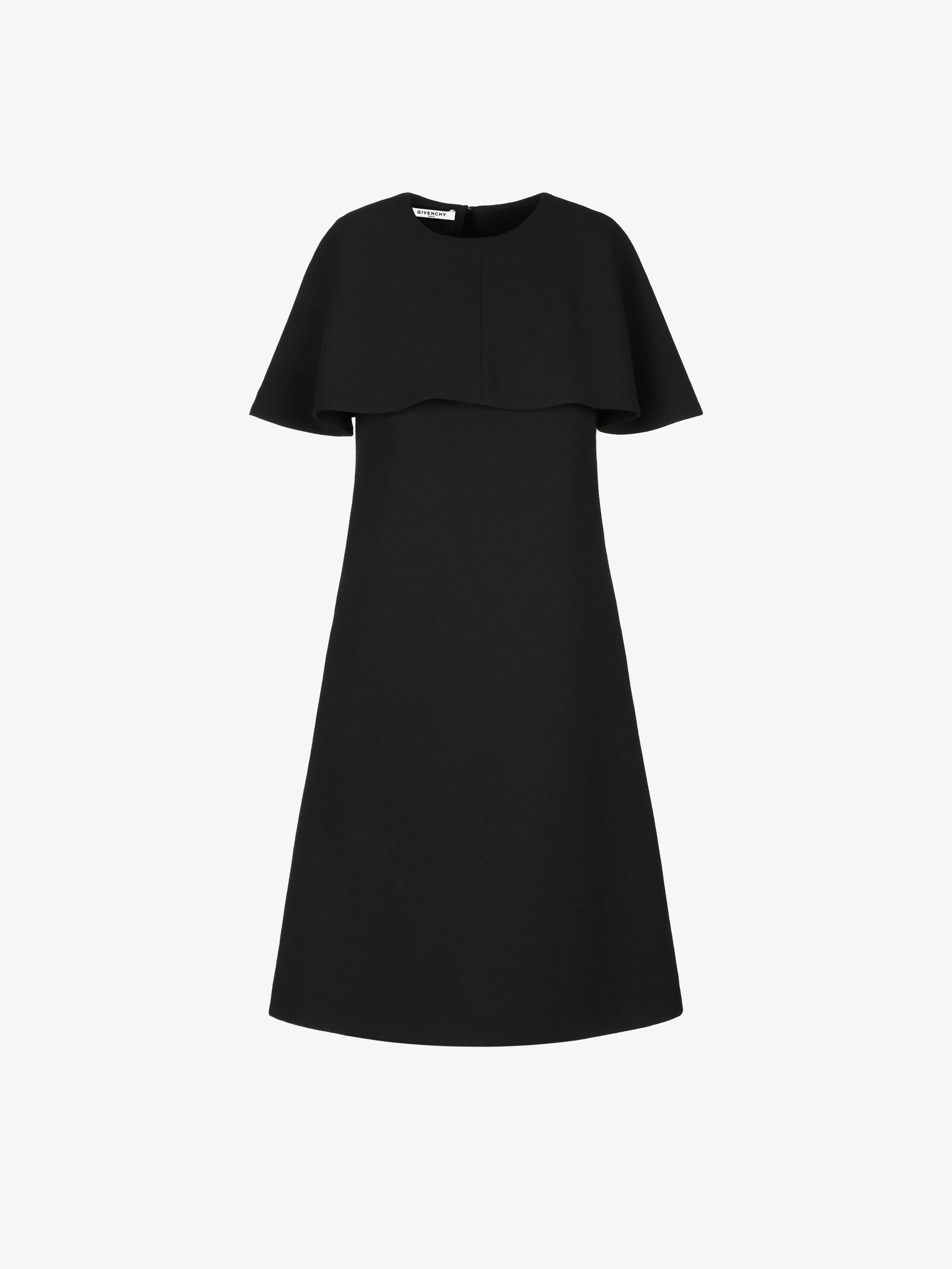 Short cape dress in wool crepe