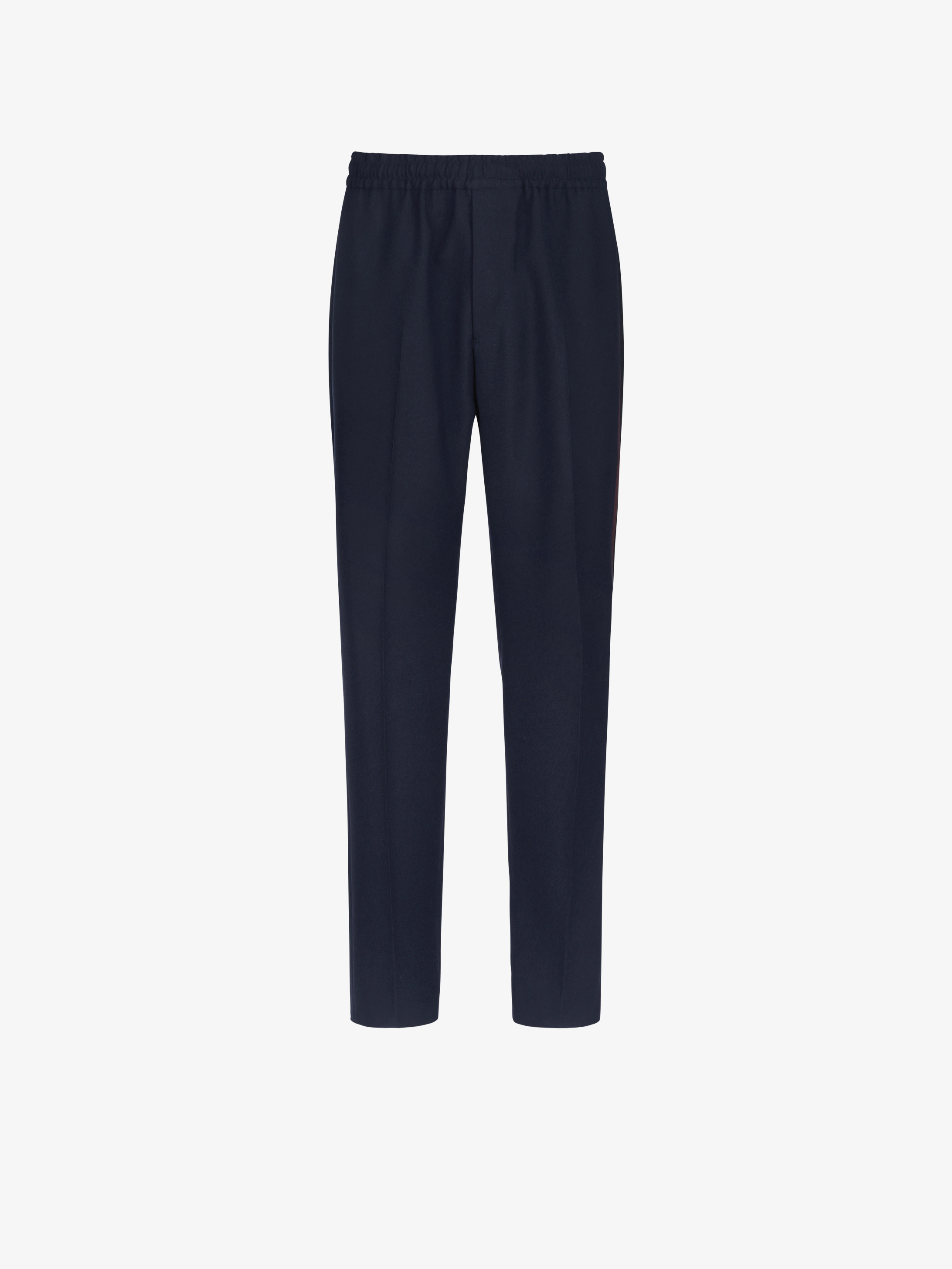 Side bands jogger pants in wool