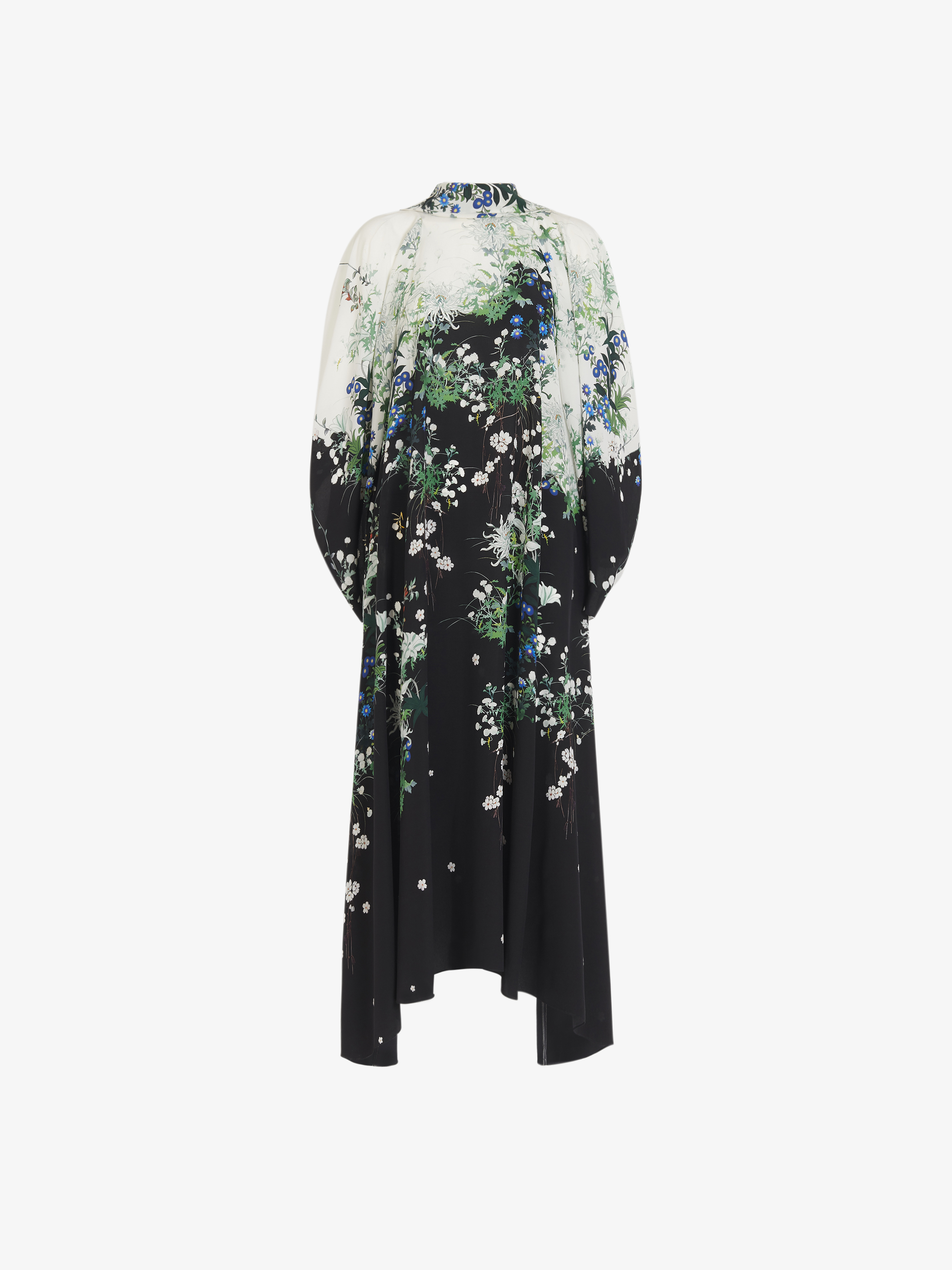 Long floral printed dress in crêpe de Chine