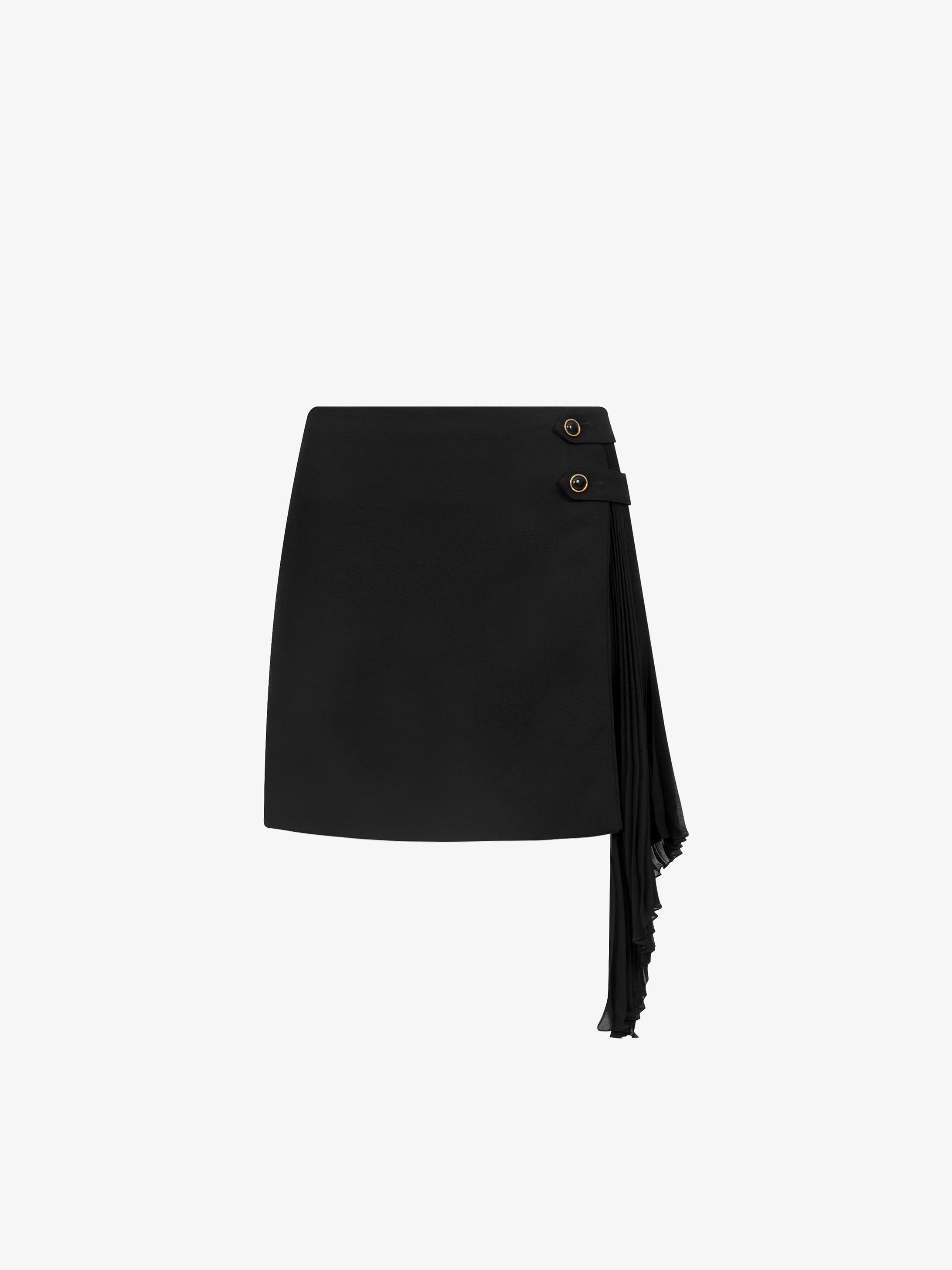 Mini skirt with pleated godet