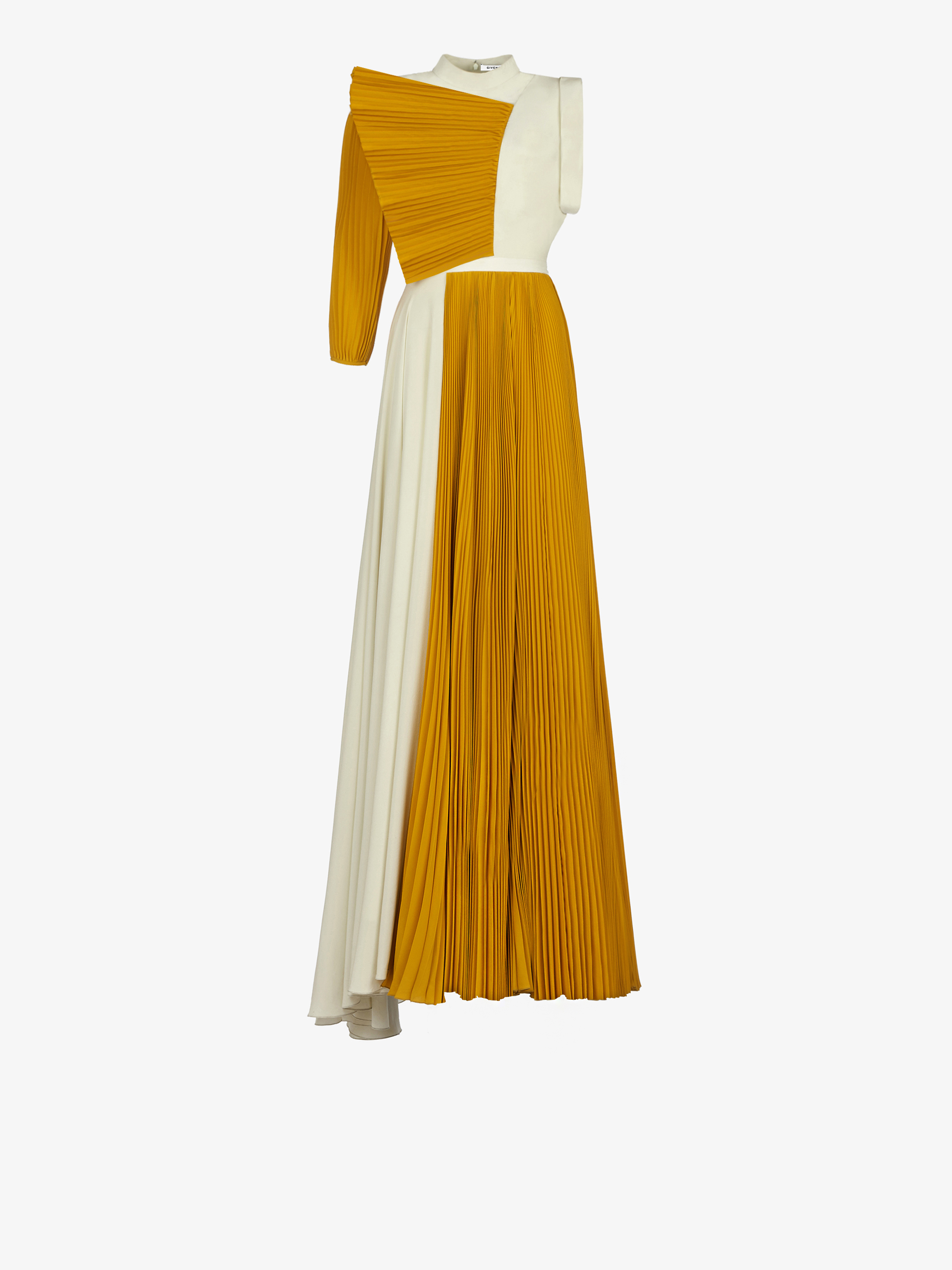 Asymmetrical pleated evening dress with ruffle