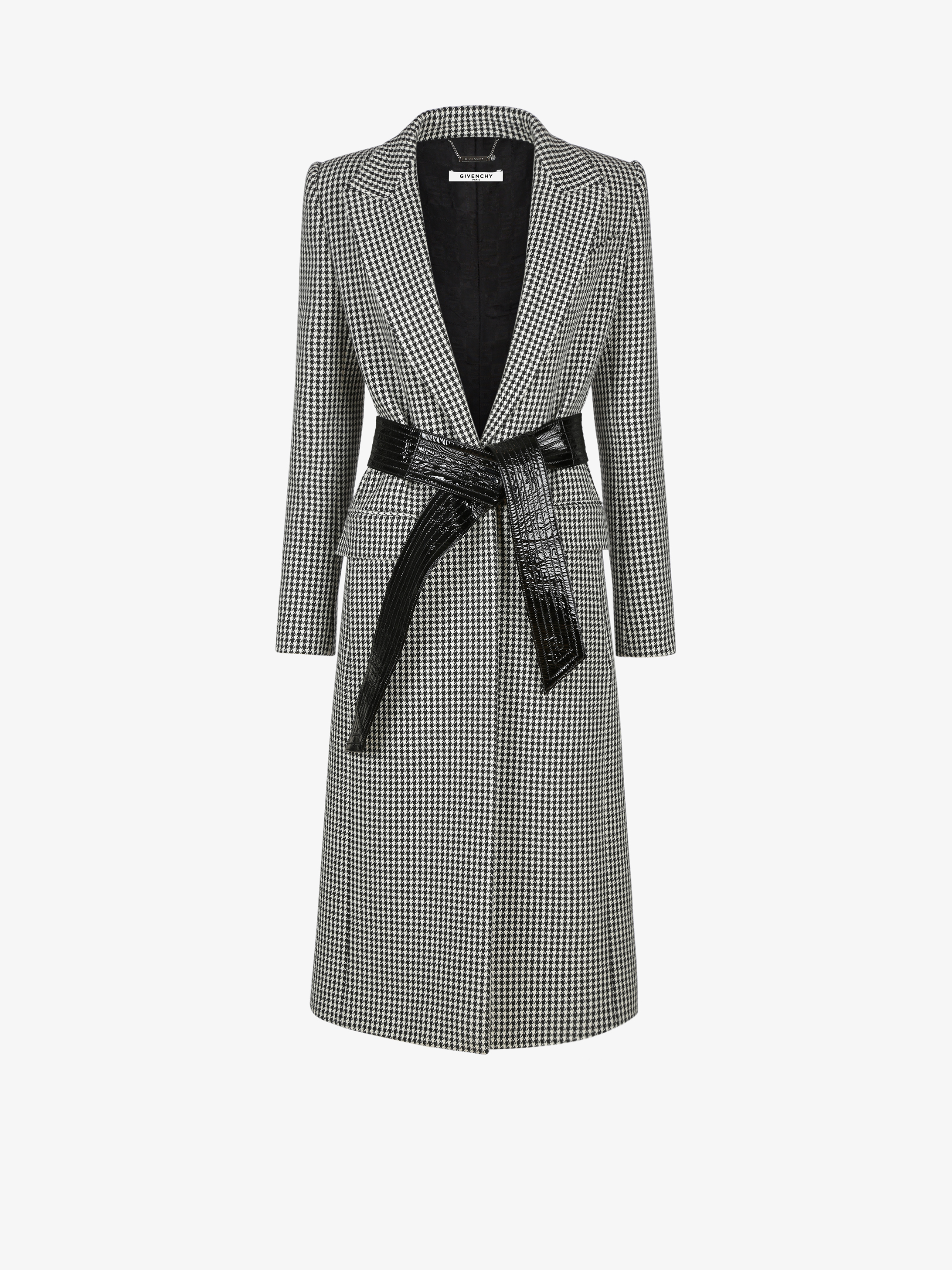 Houndstooth long coat in wool