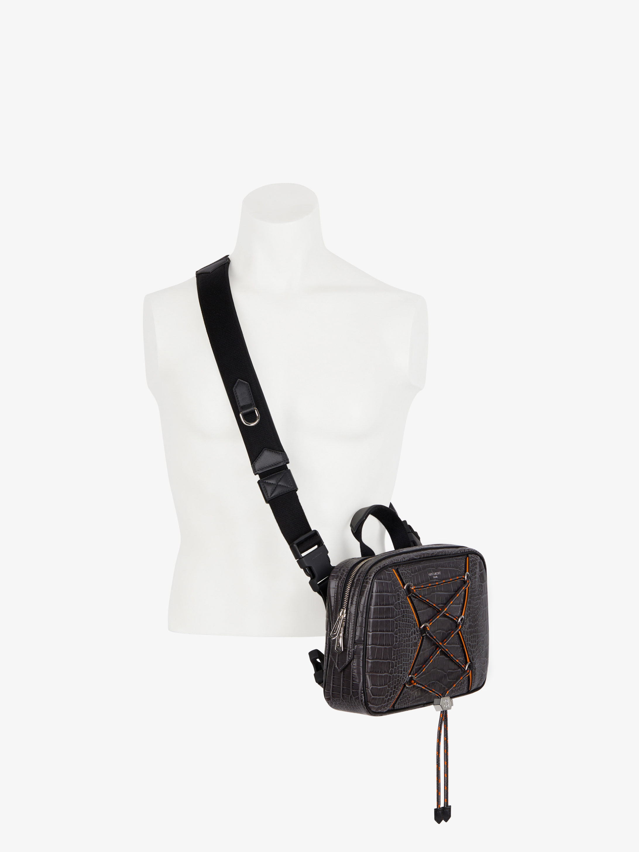 Bond small backpack in crocodile effect leather