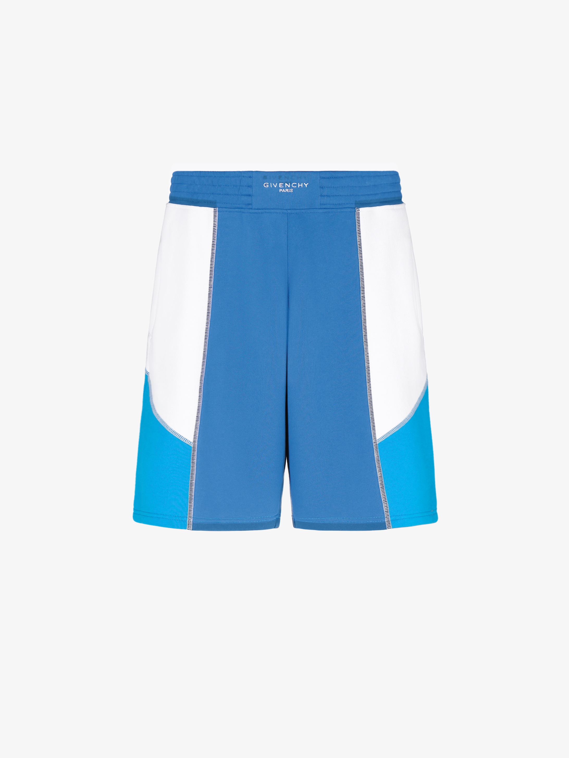 Three tone contrasting stitching short pants