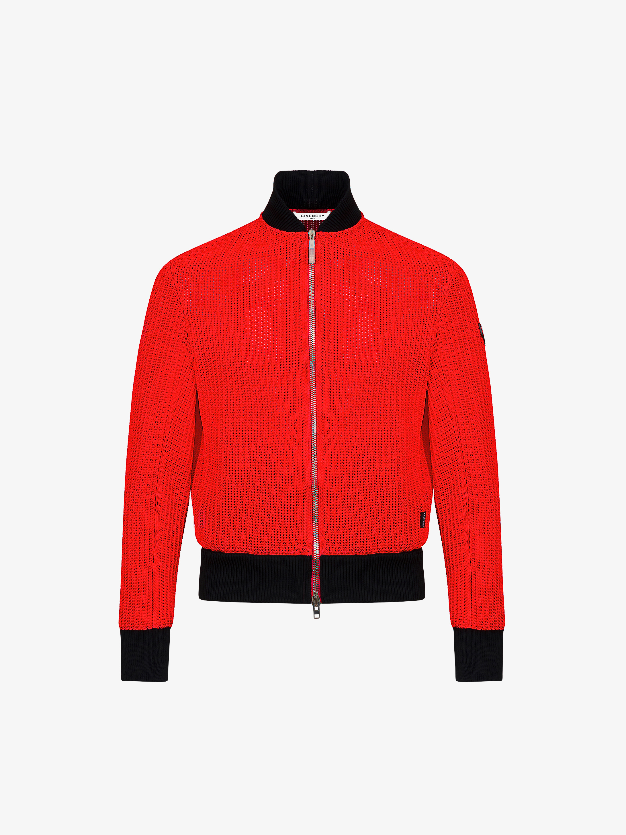 Knitted zipped bomber jacket