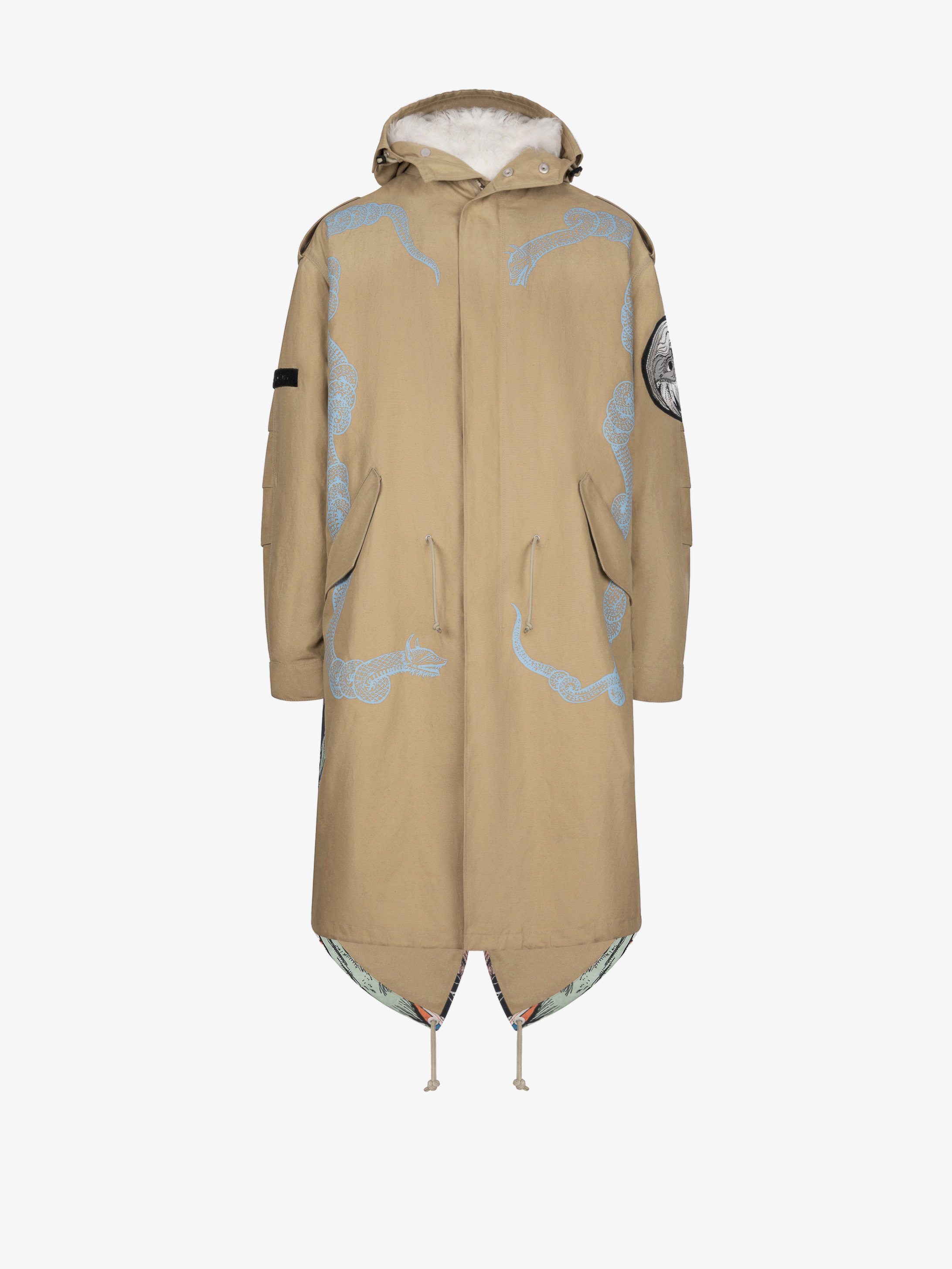 Icarus parka in gabardine with removable sheep lining