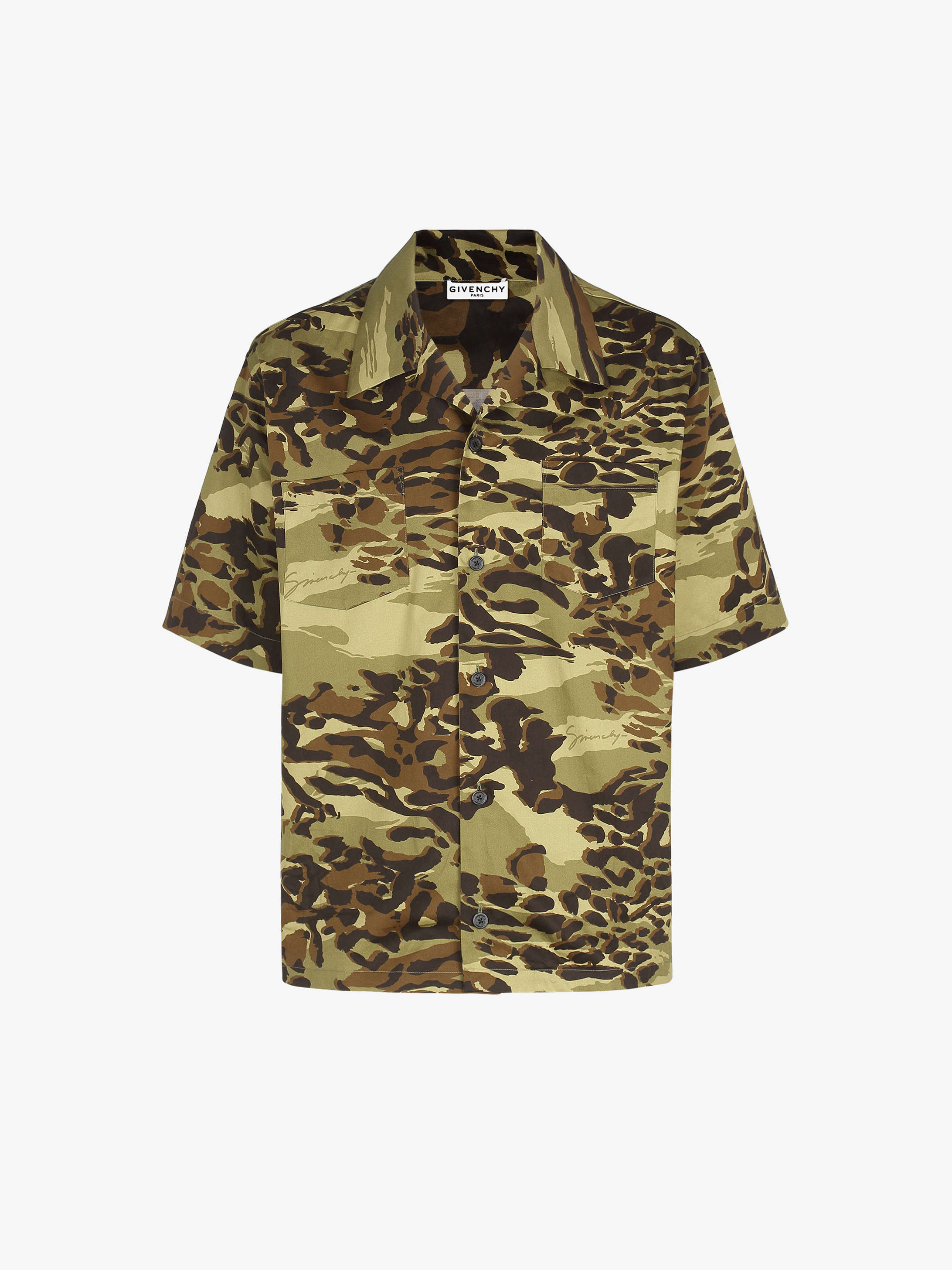Camouflage printed Hawaiian shirt in coton