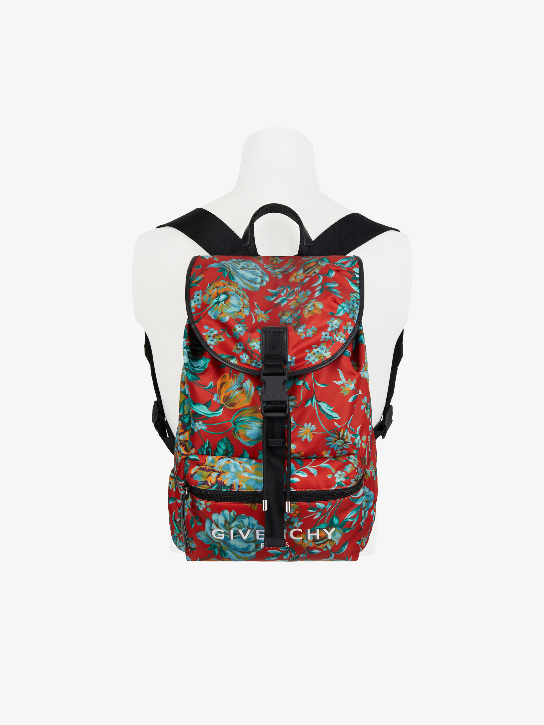 GIVENCHY packaway backpack in floral printed nylon