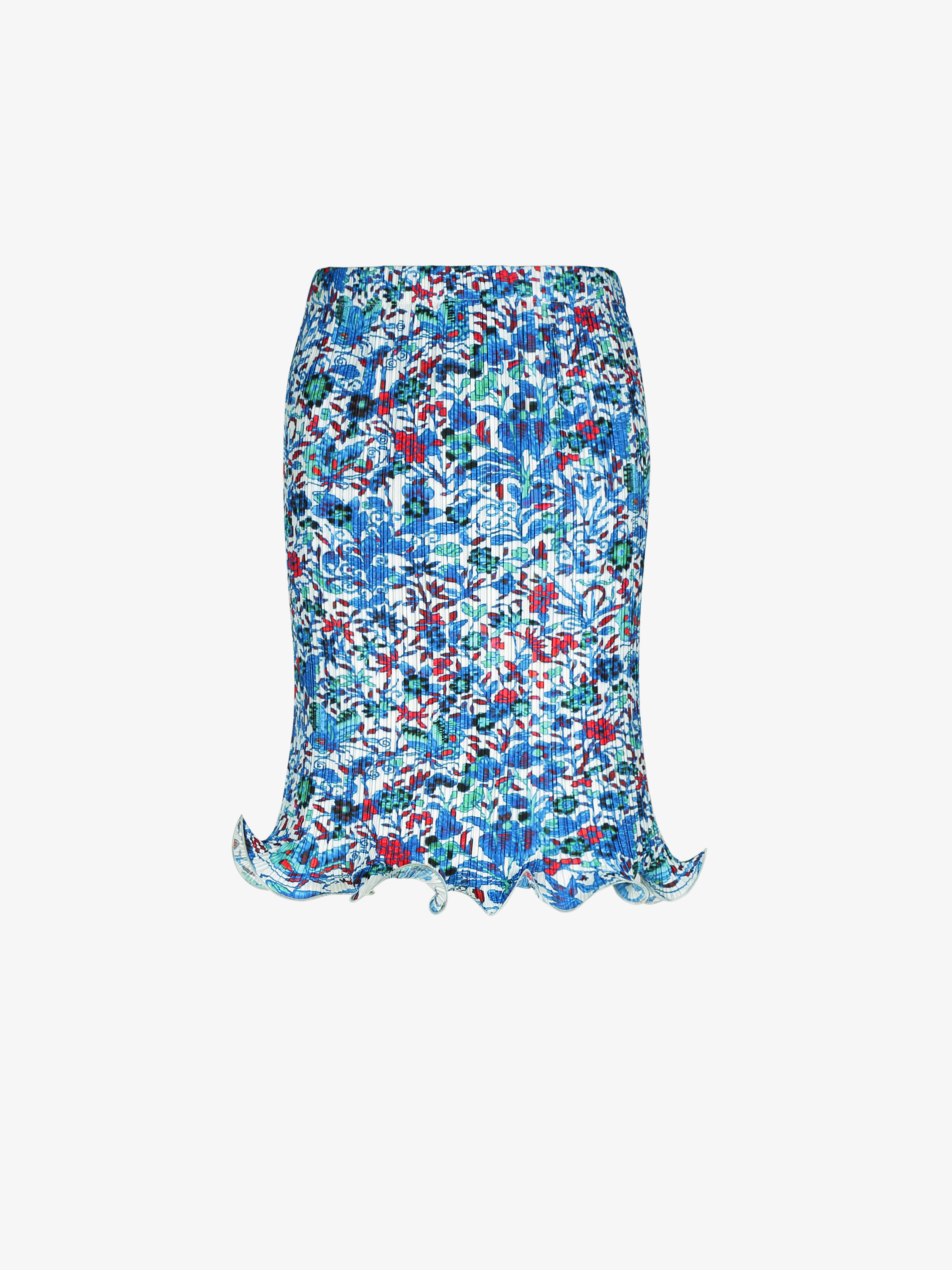 Short pleated skirt with floral print