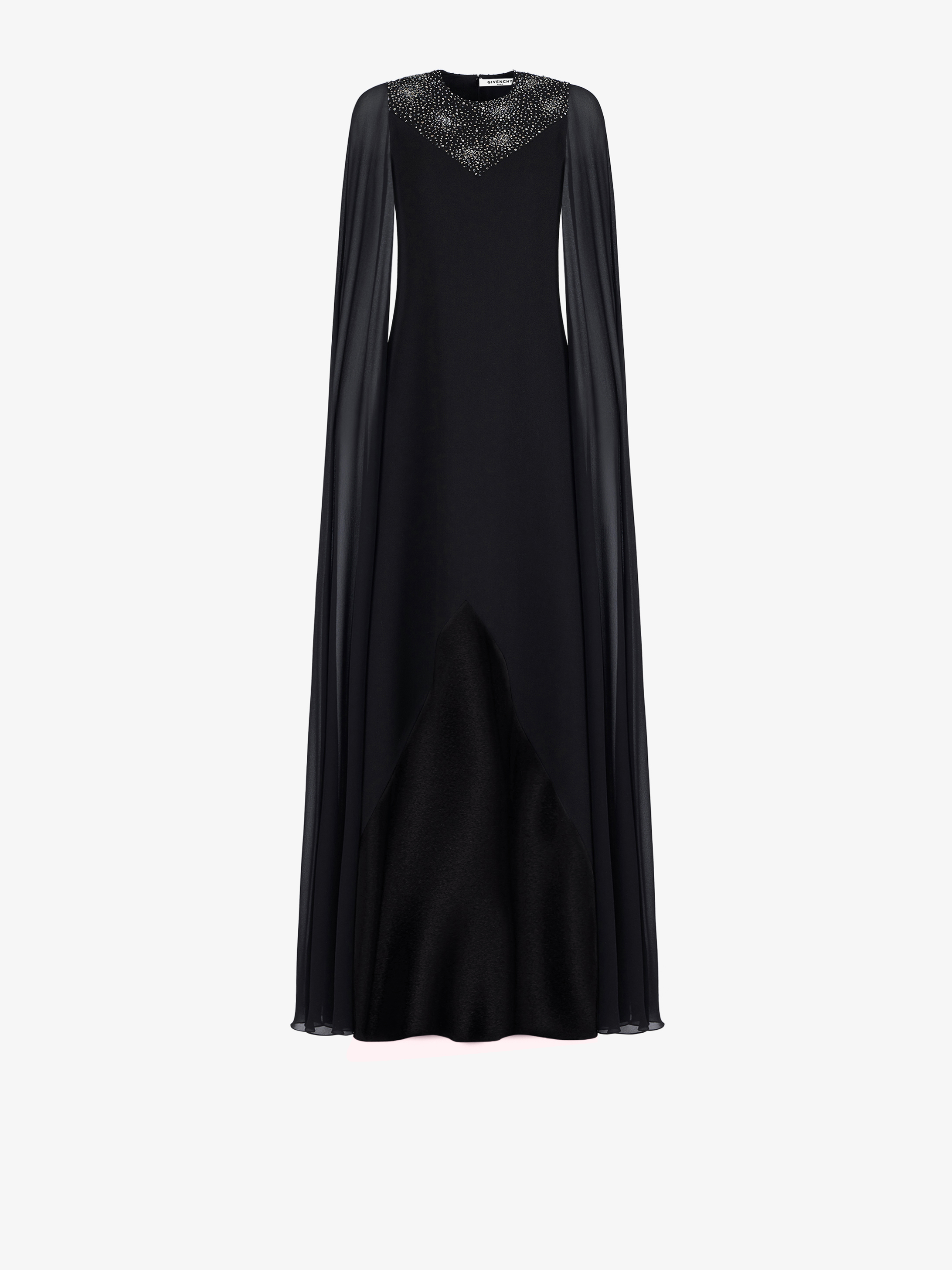 Evening dress with cape sleeves and embroidered plastron