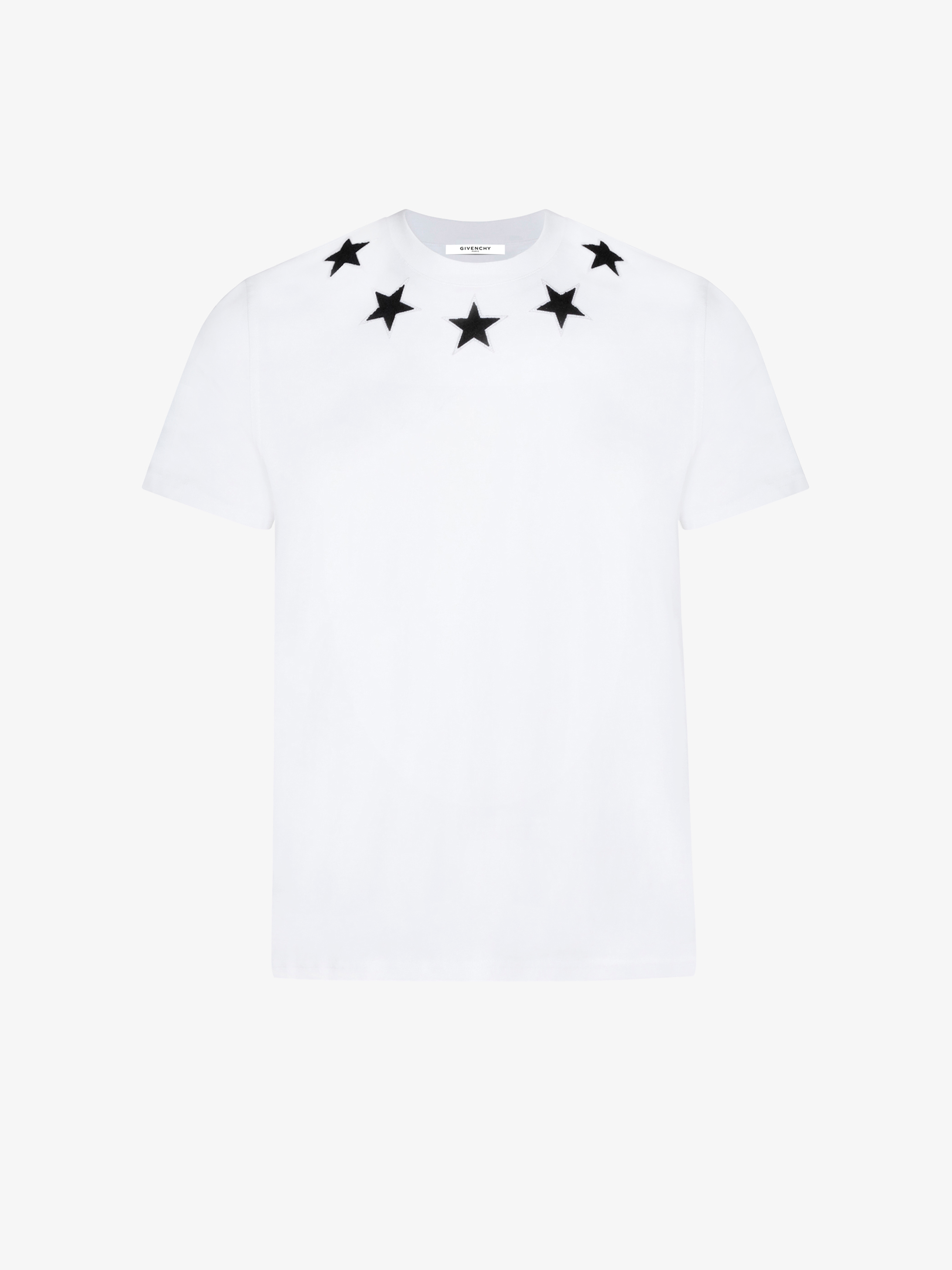 Contrasted stars around the neck oversized t-shirt