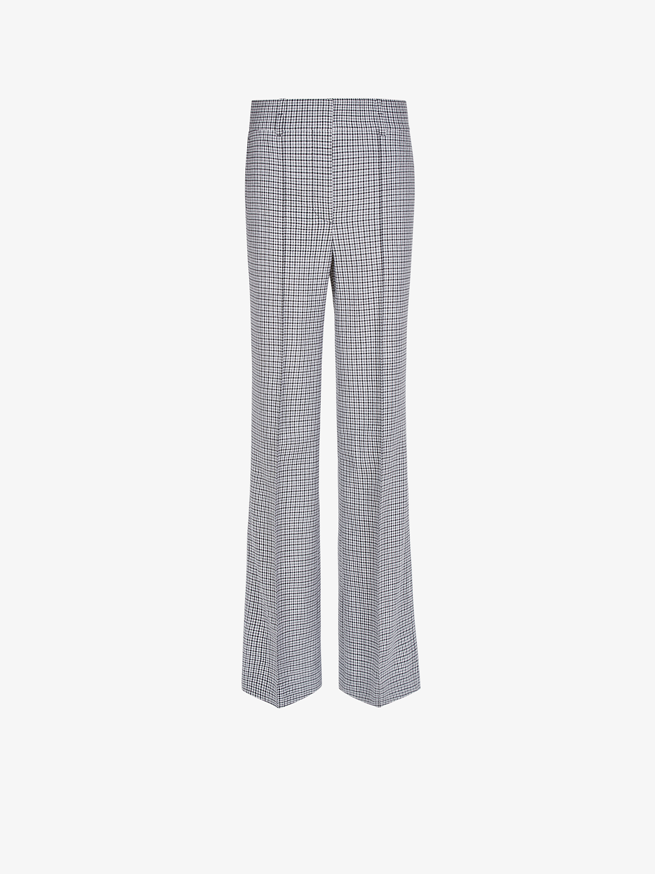 High waisted pants in houndstooth wool
