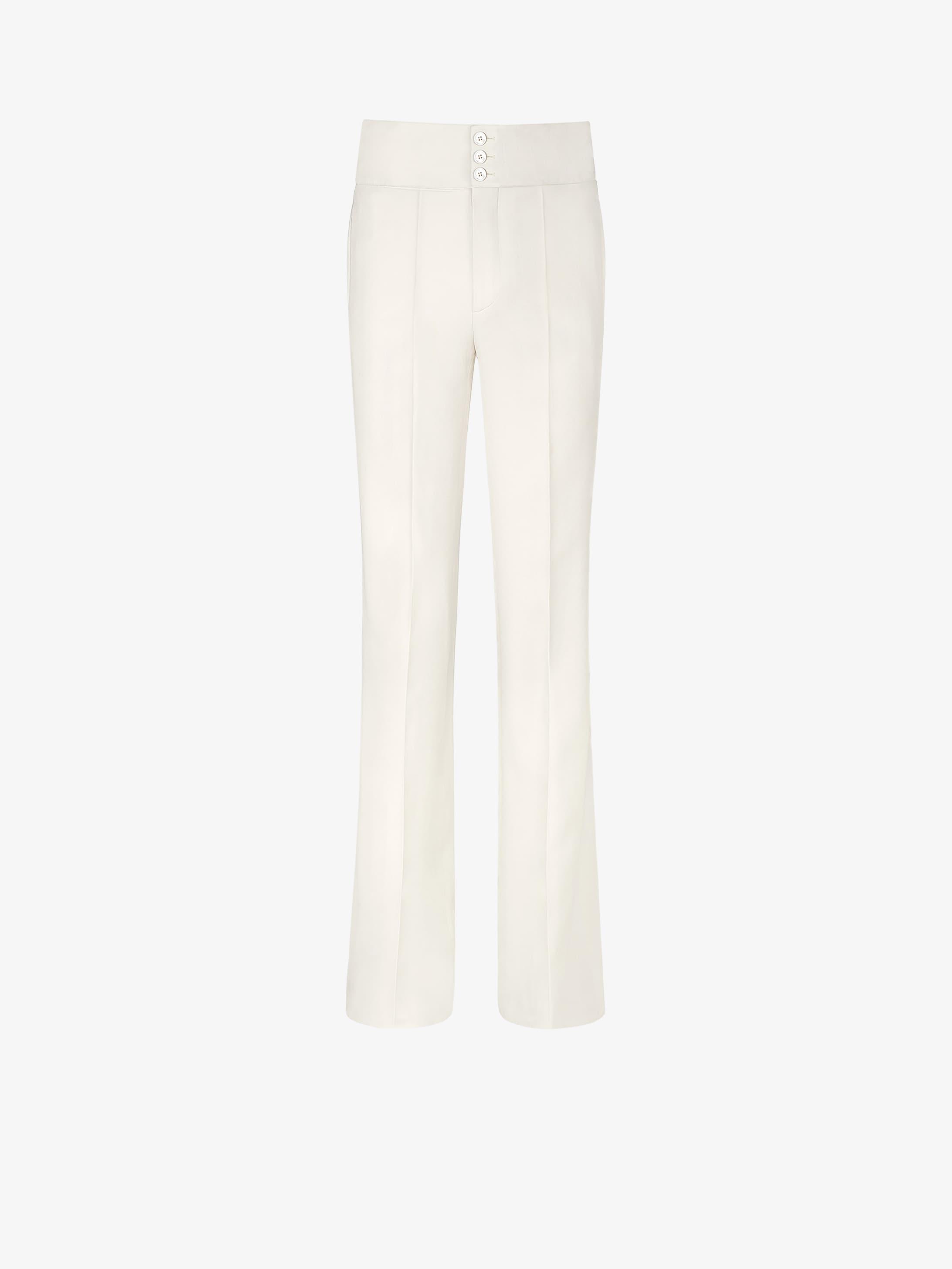 Flared pants in grain de poudre