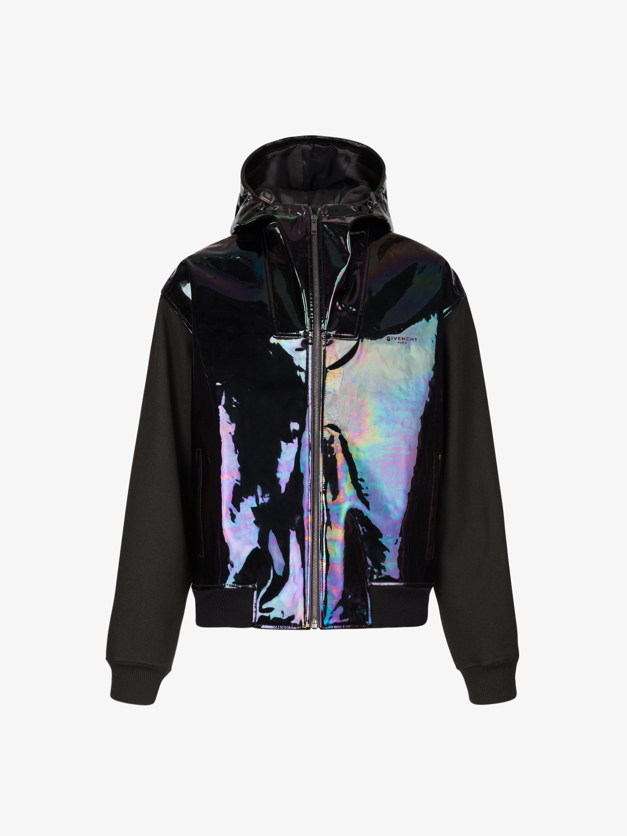 Hooded jacket in iridescent leather and neoprene