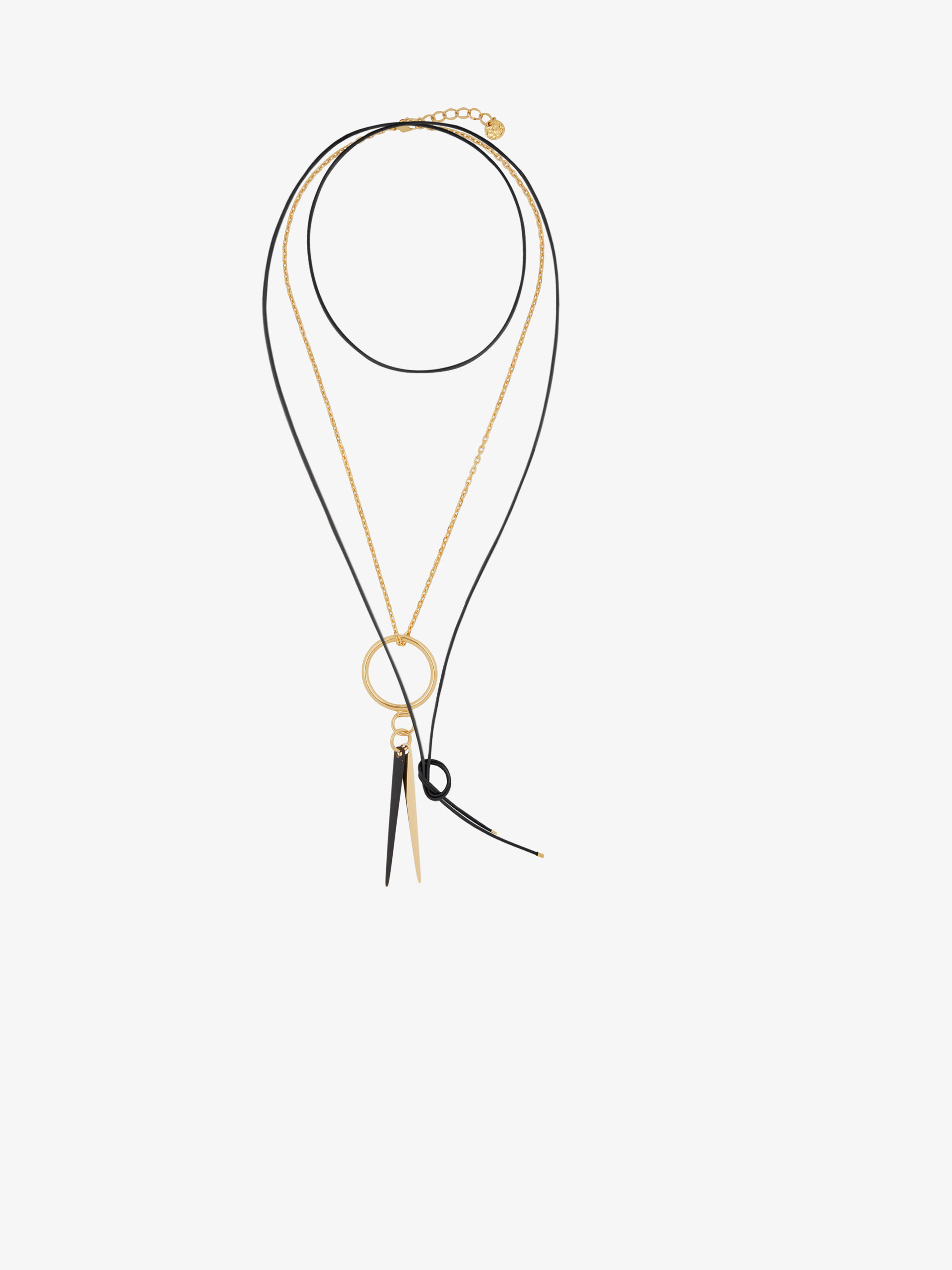 Graphic necklace set in leather and metal