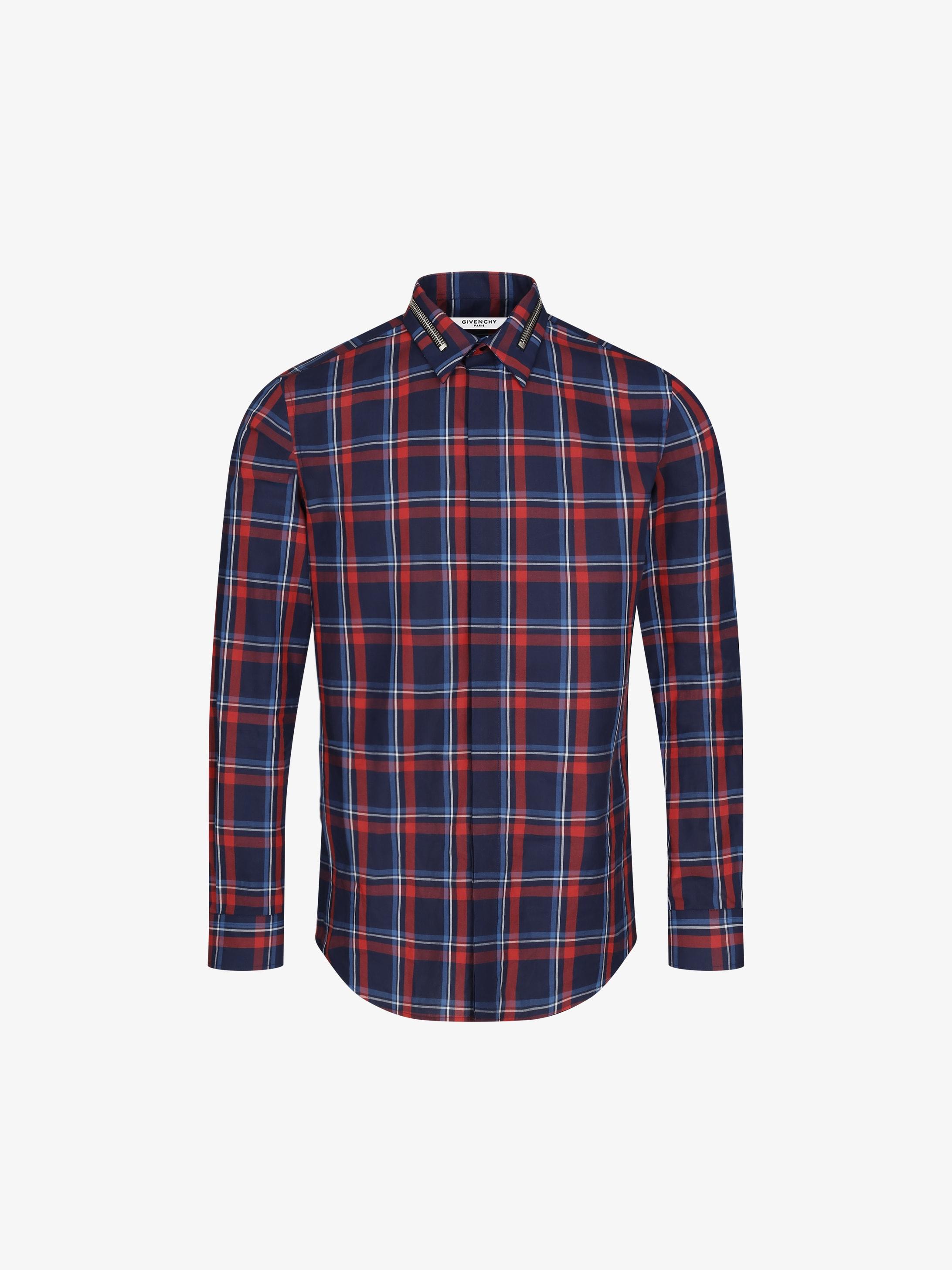Check shirt with metallic zip