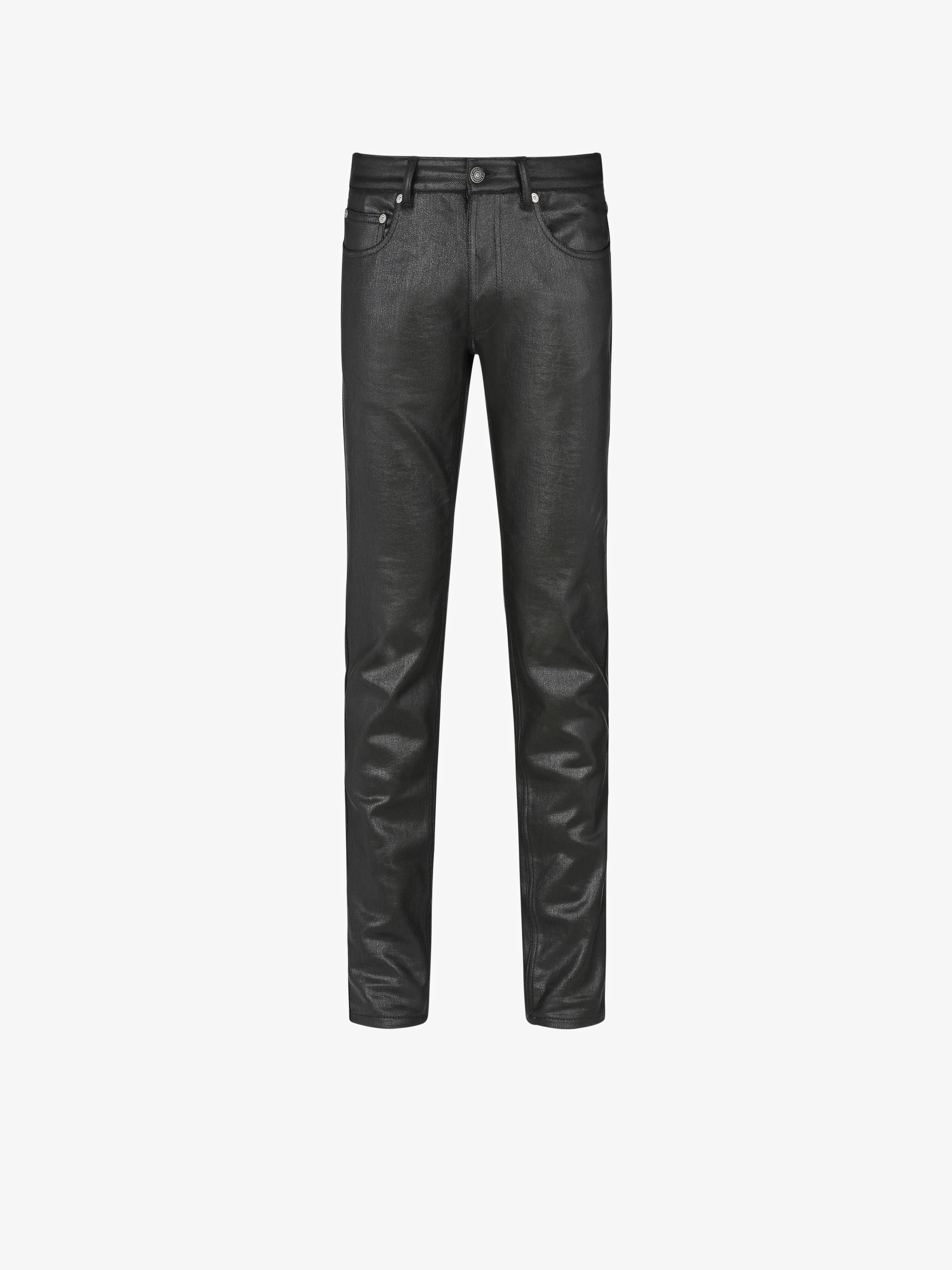 Skinny jeans in coated denim