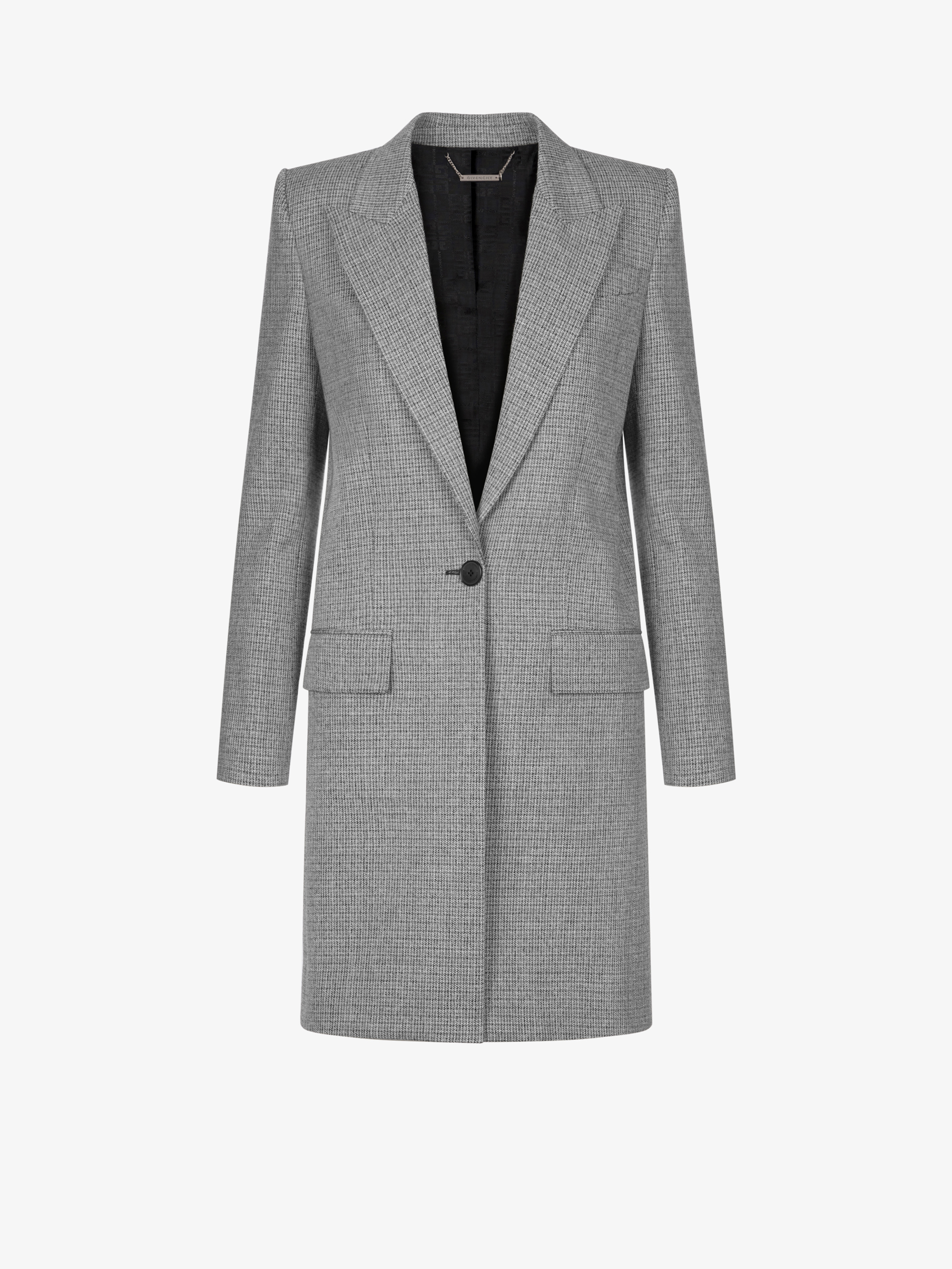 Checked coat in tweed