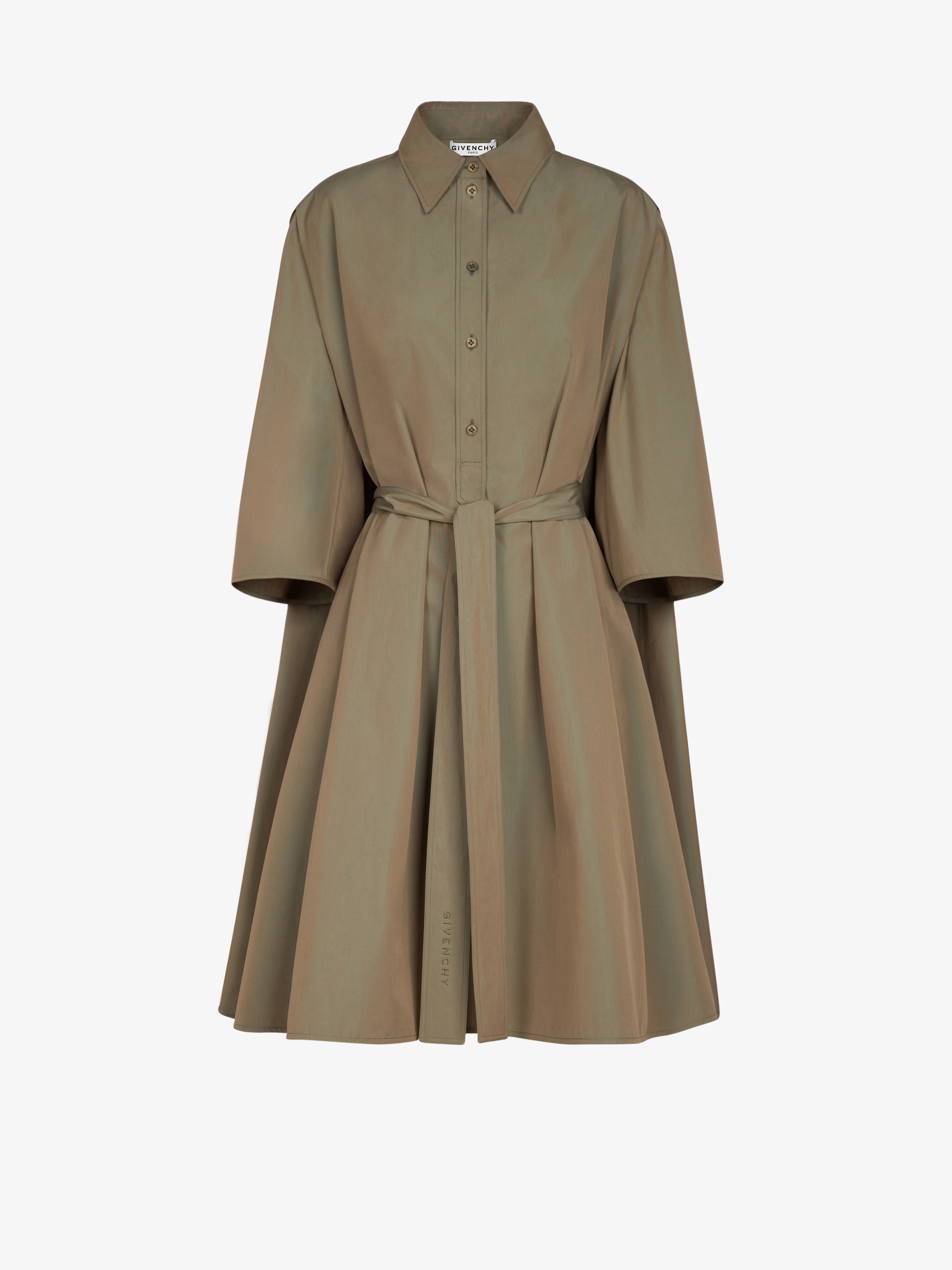 Belted shirt dress in changing popeline