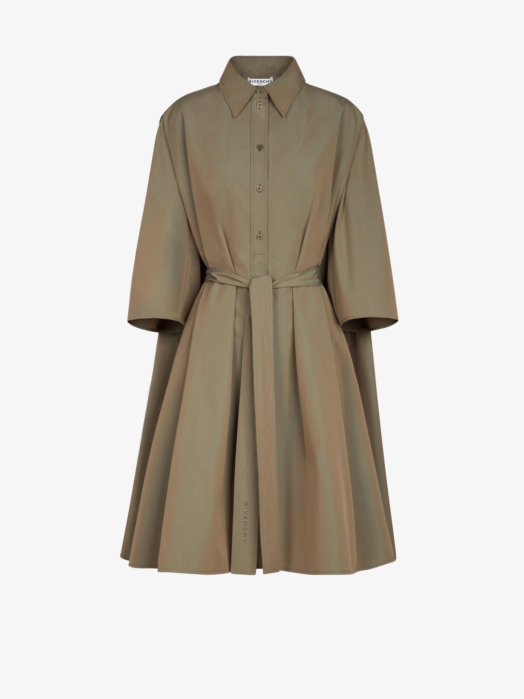 变色府绸系带衬衫连衣裙