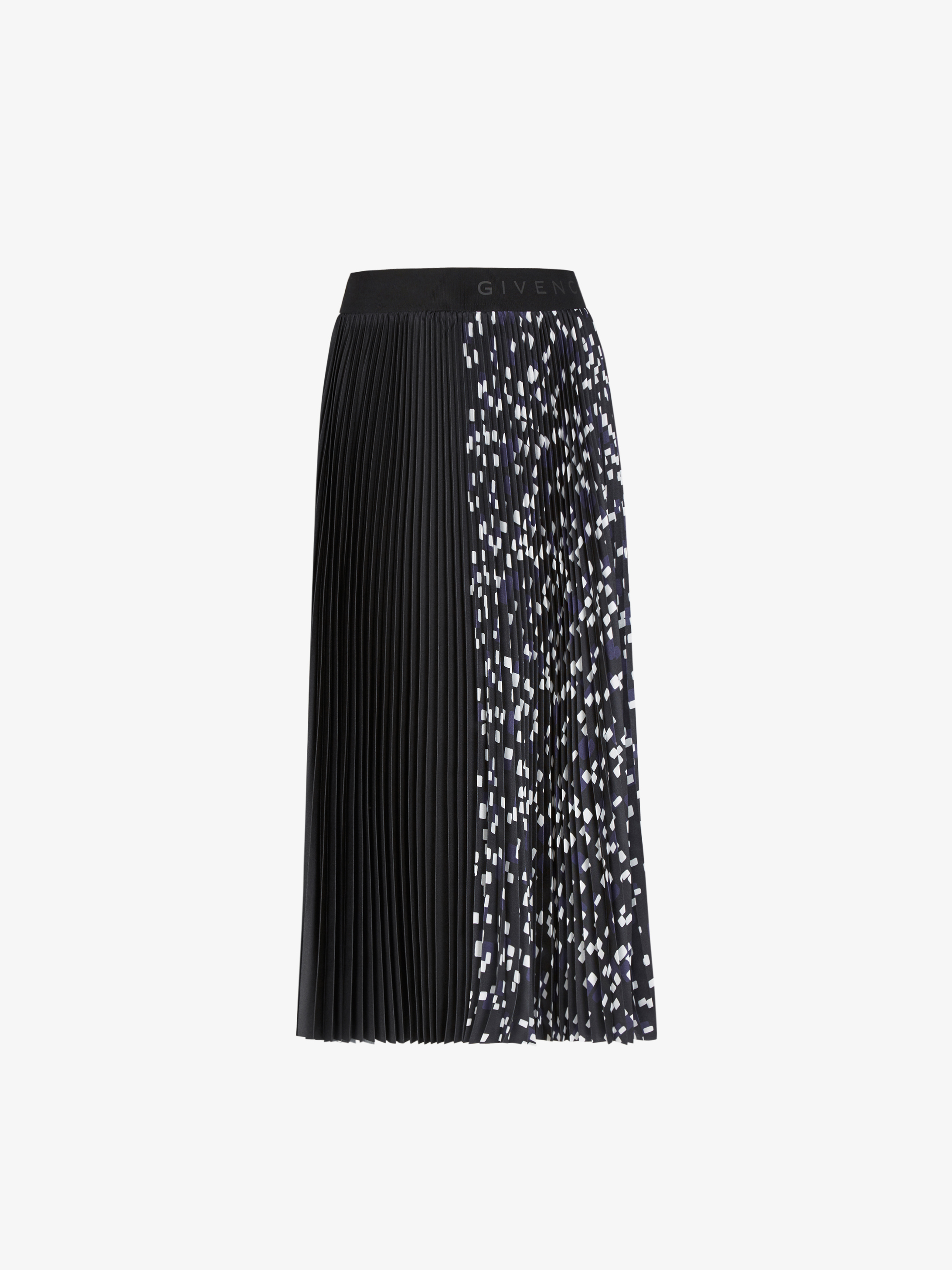 Pleated skirt with geometrical print