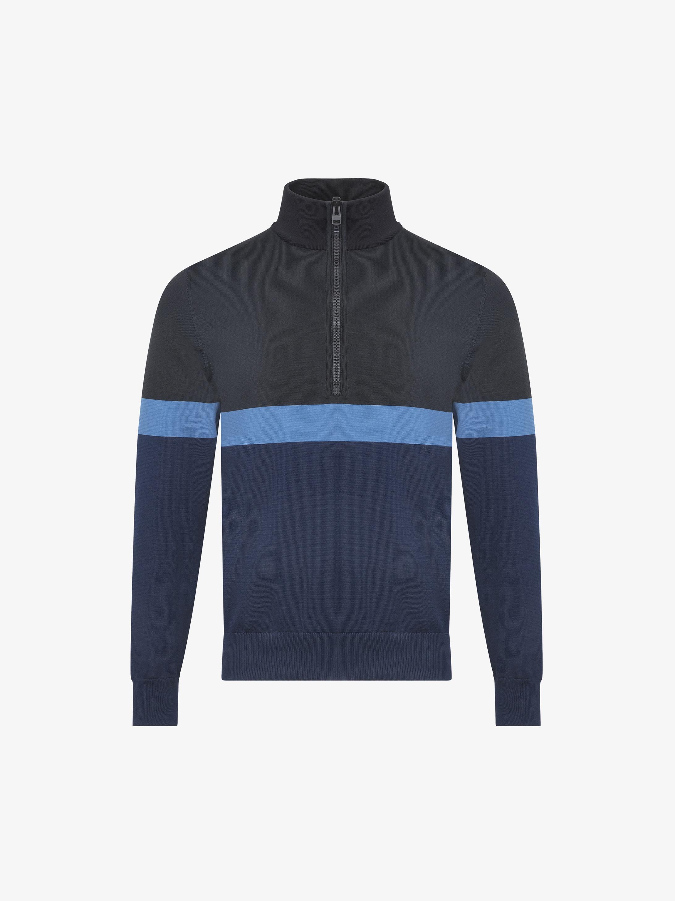 Pullover con zip e striscia blu