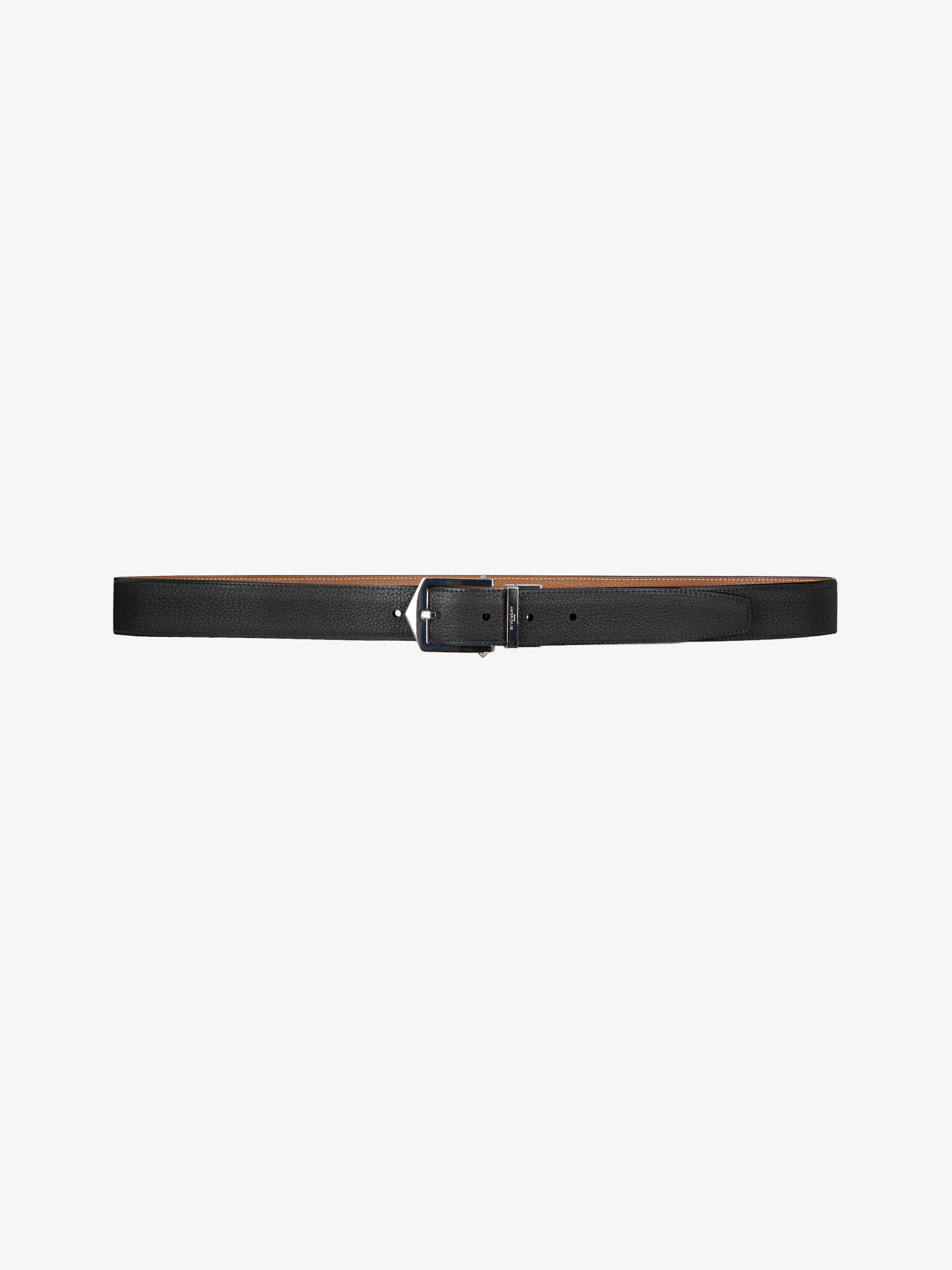 Reversible belt in leather