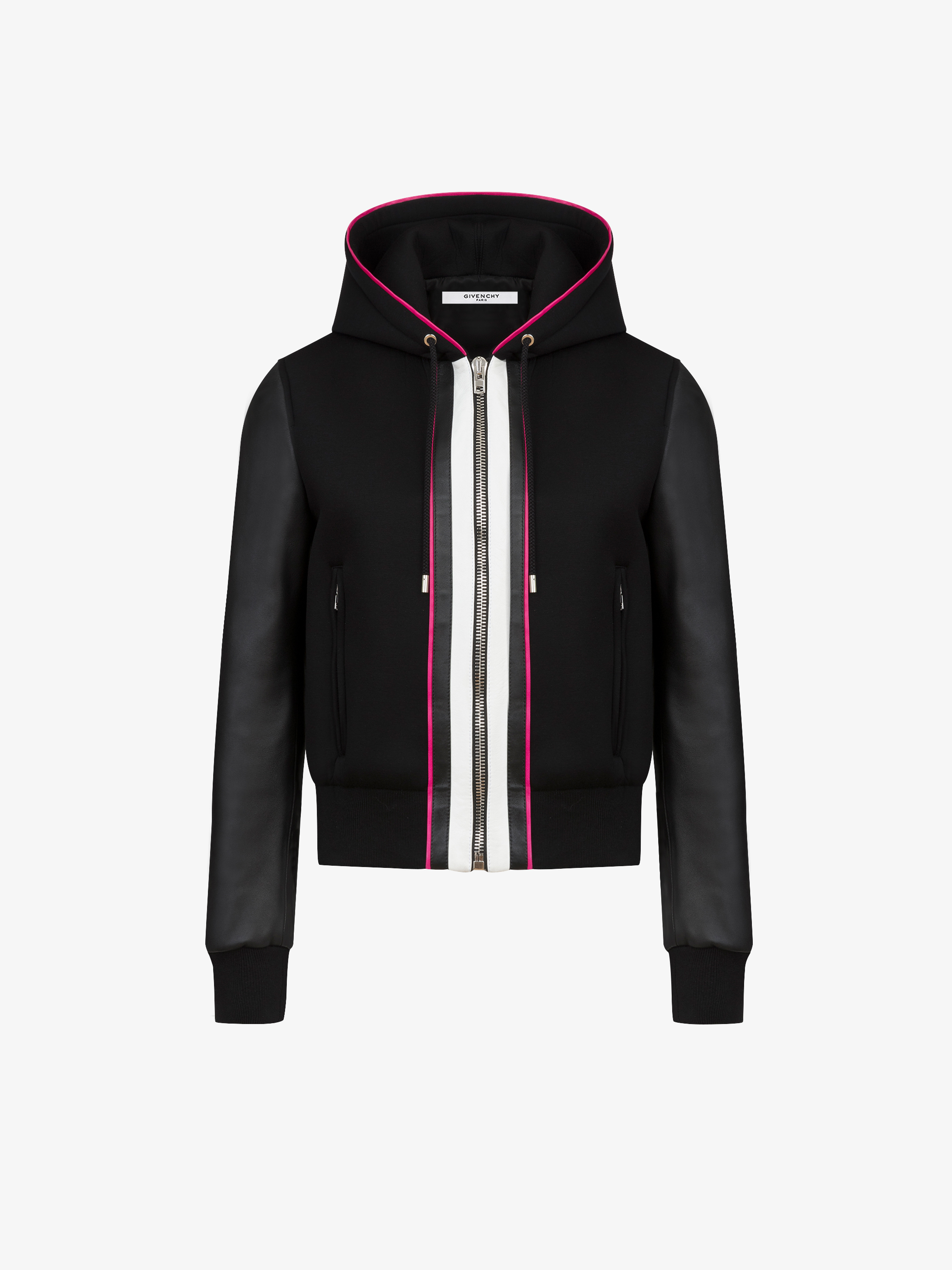 GIVENCHY PARIS logo neoprene and leather bomber jacket | GIVENCHY ...