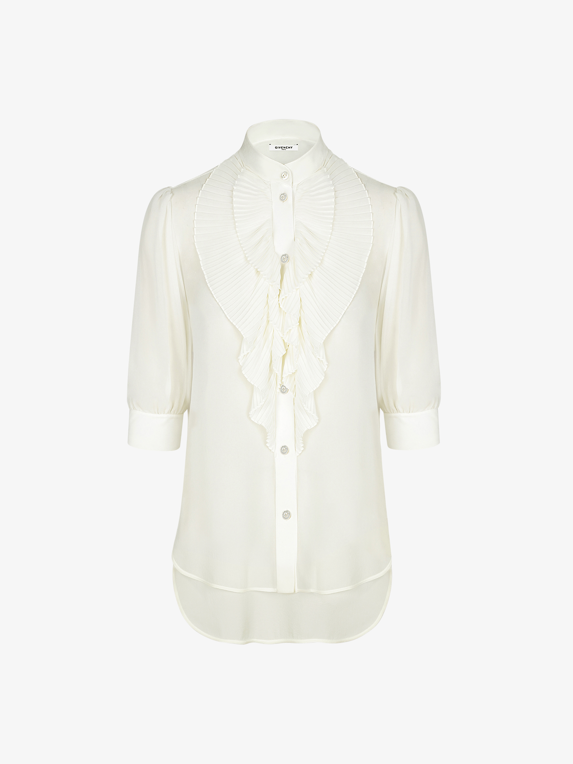 Shirt with pleated ruffles in silk
