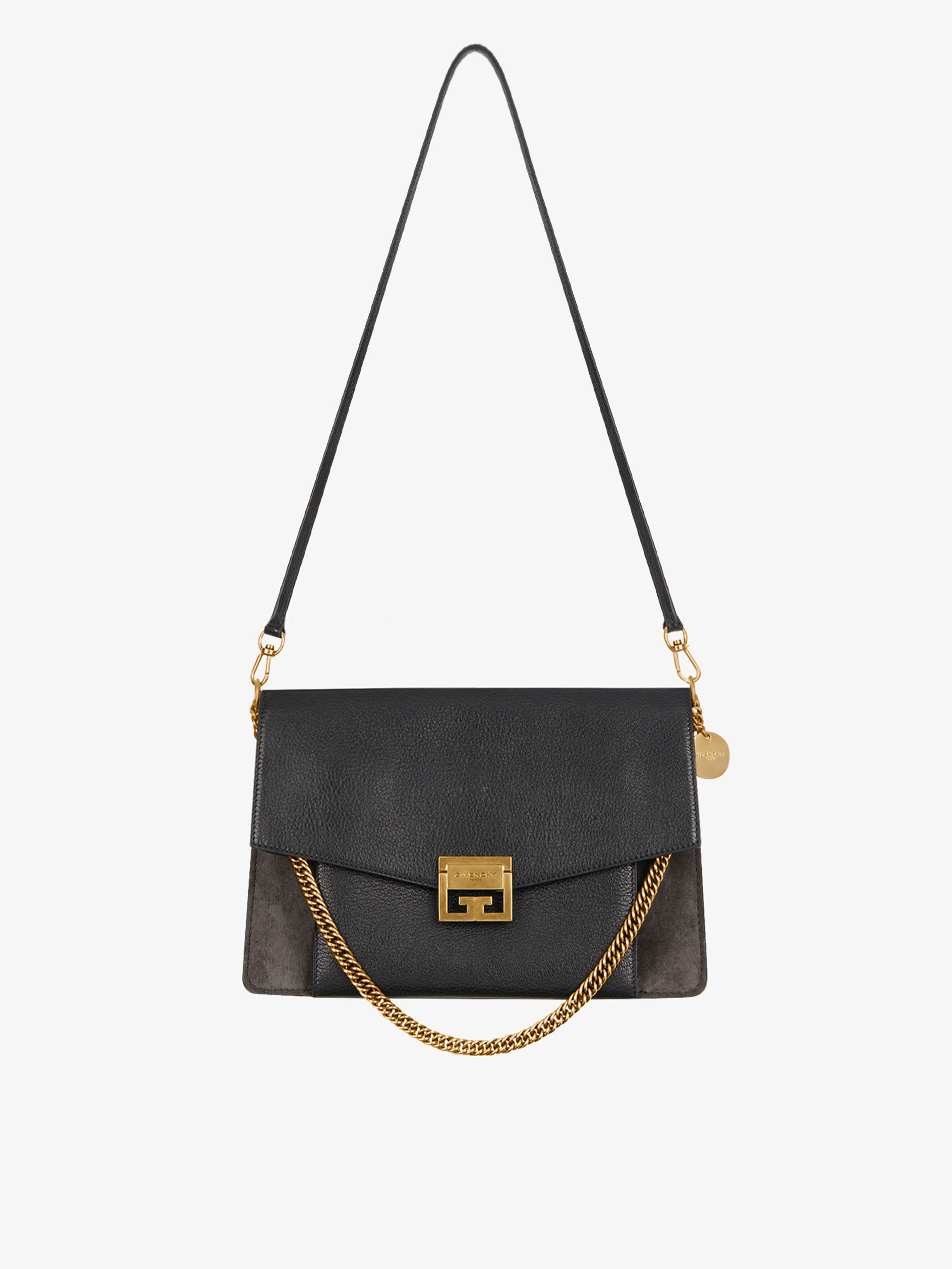Medium GV3 bag in grained leather and suede