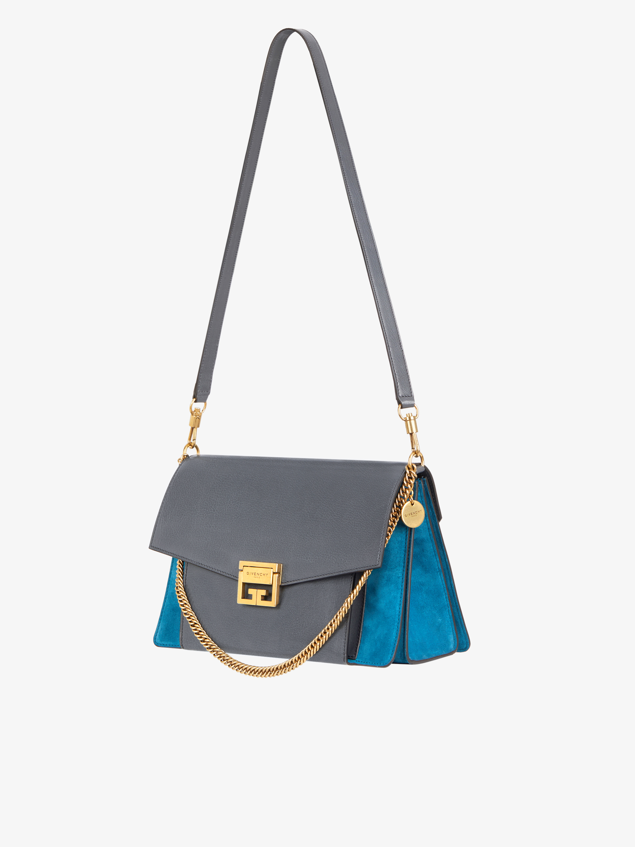 Medium GV3 bag in leather and suede