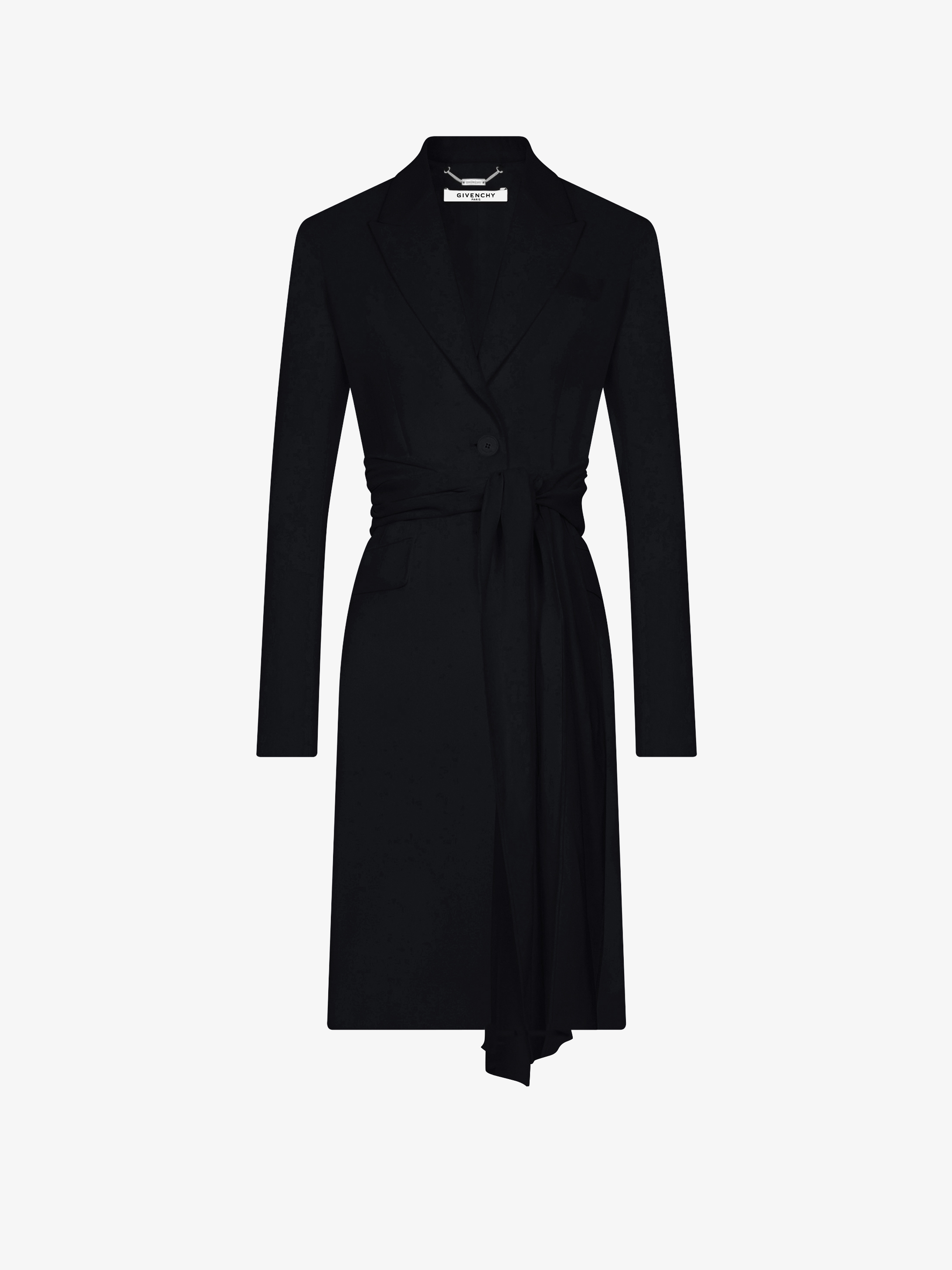 Slim coat with drapped belt