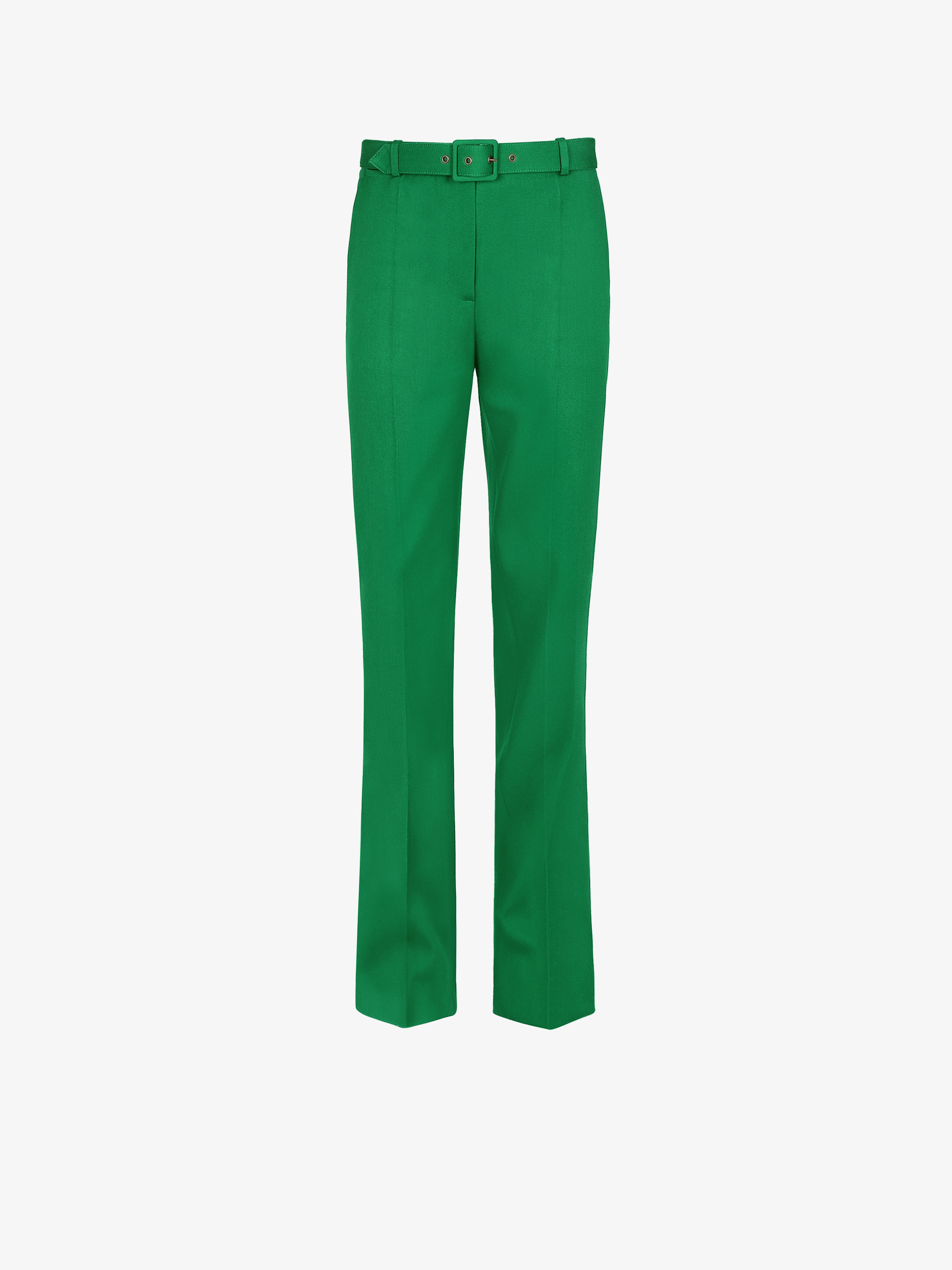 Pants in wool crepe with belt