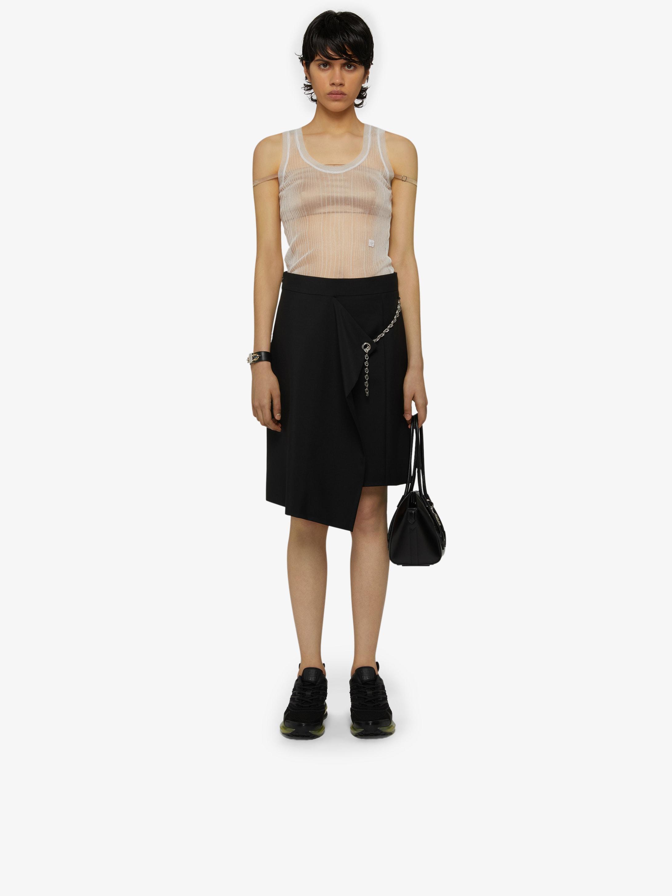 Asymmetrical wrap skirt with metallic details