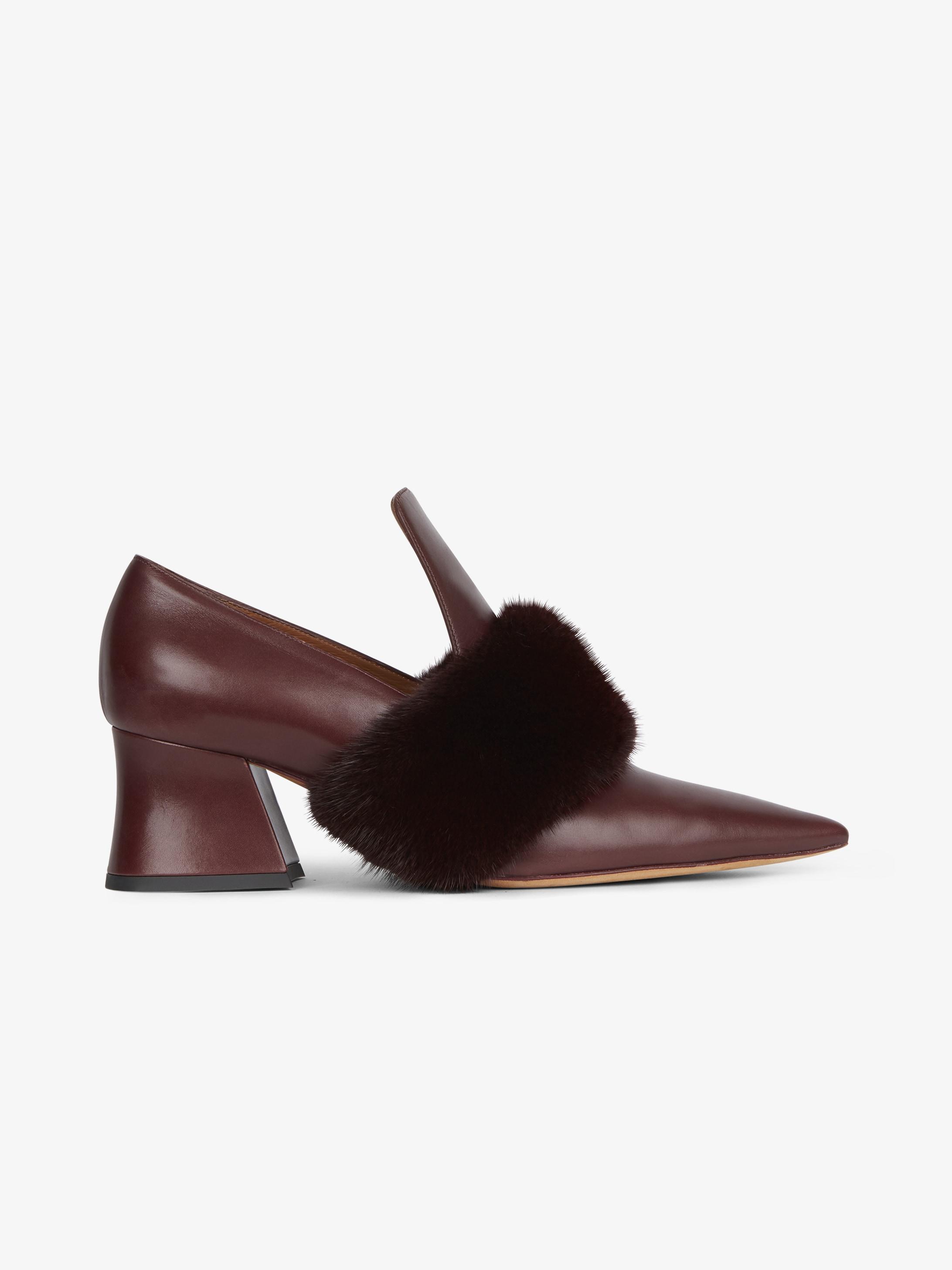 Patricia貂毛饰带皮鞋
