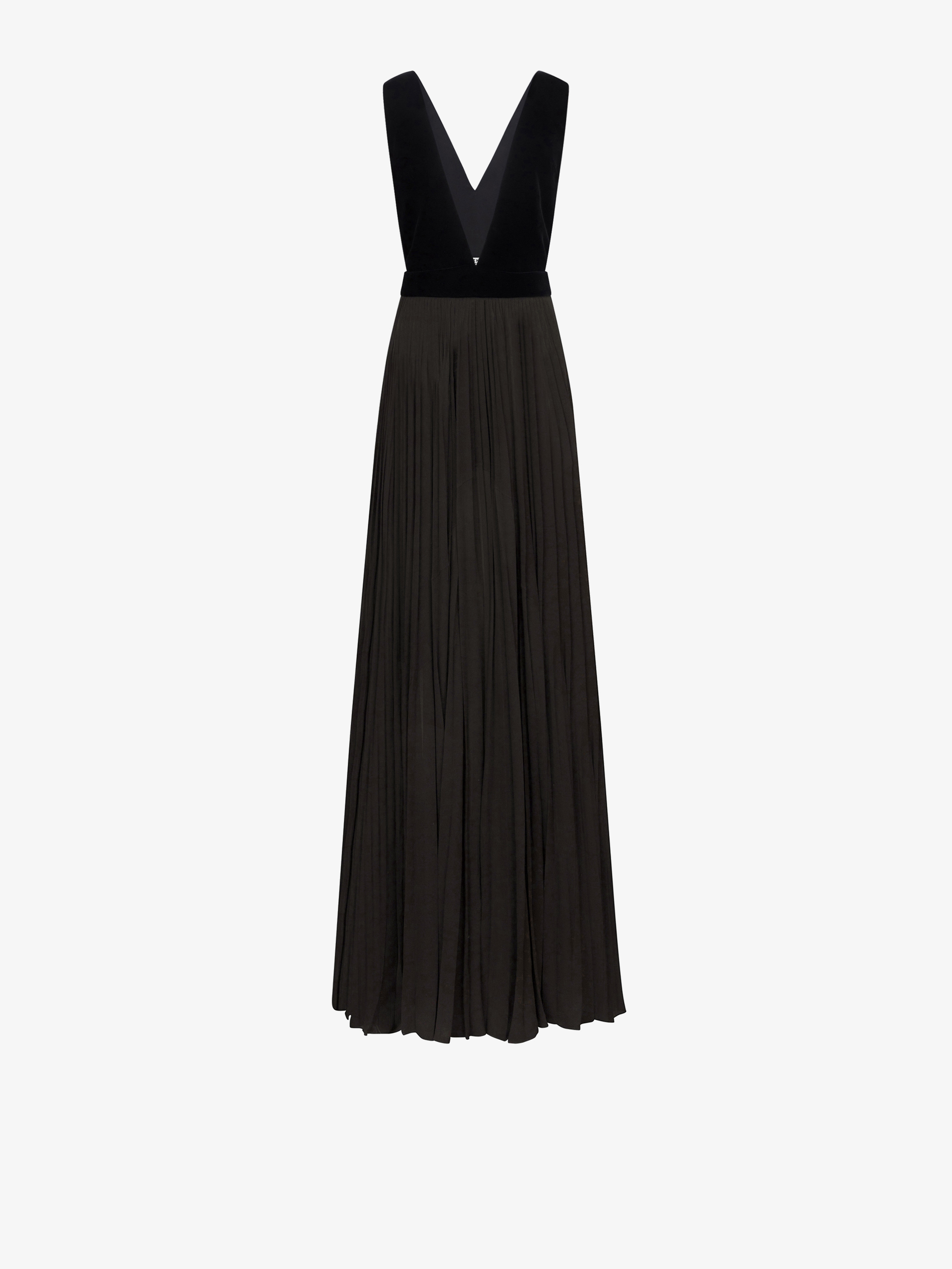 Pleated evening dress with plunging neckline