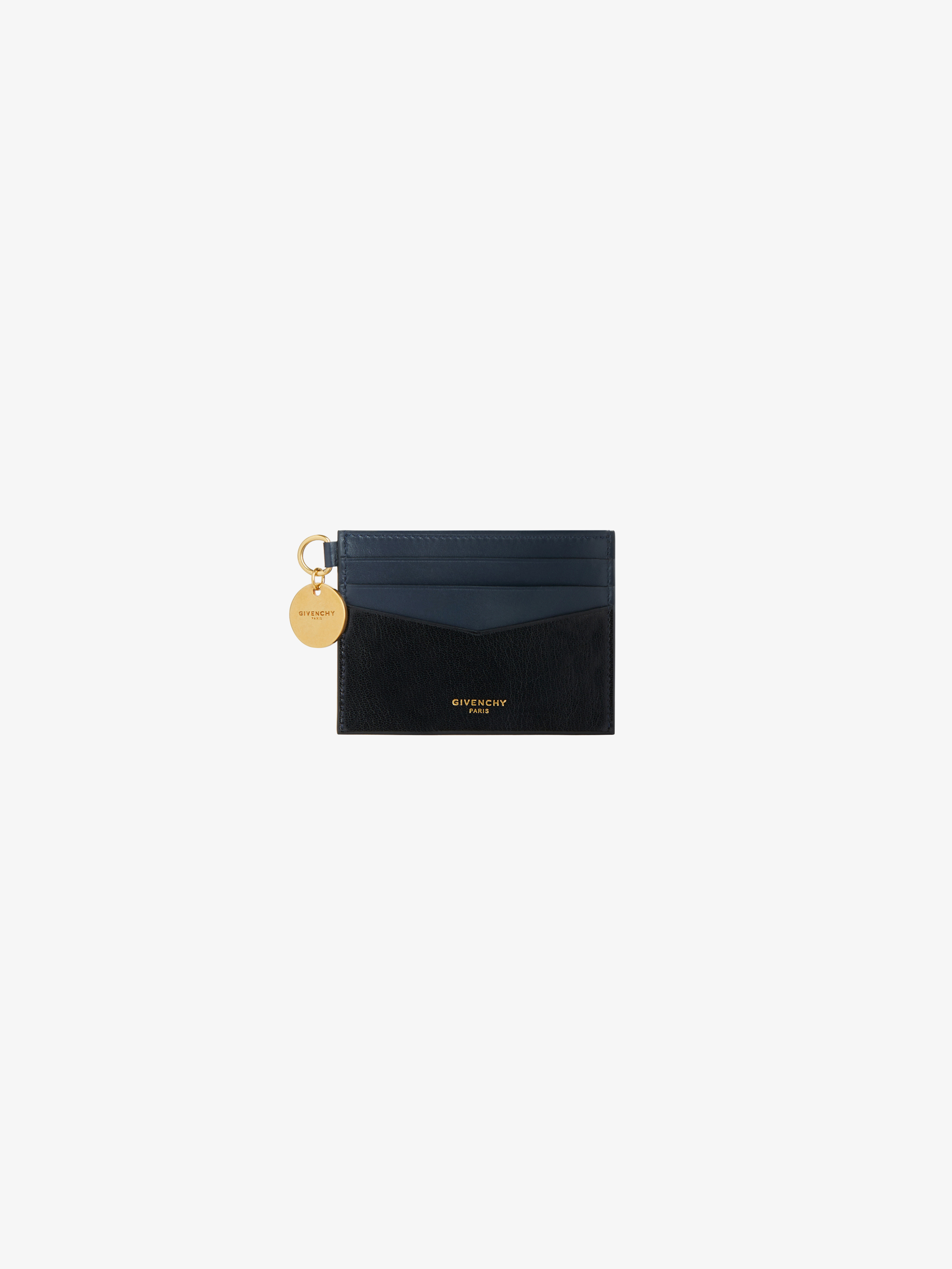 Edge two-tone card holder in leather