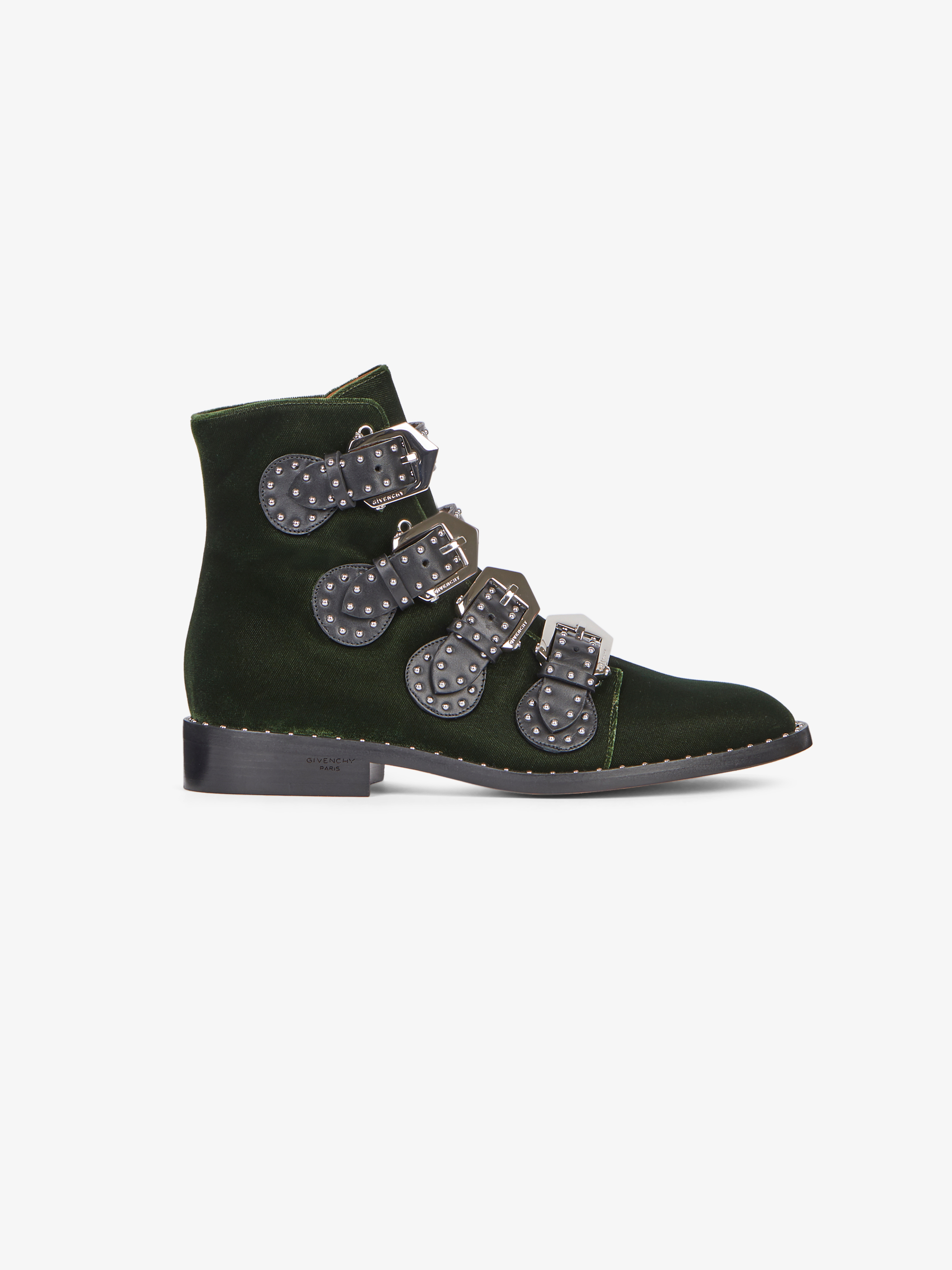Buckled ankle boots in suede and leather with studs