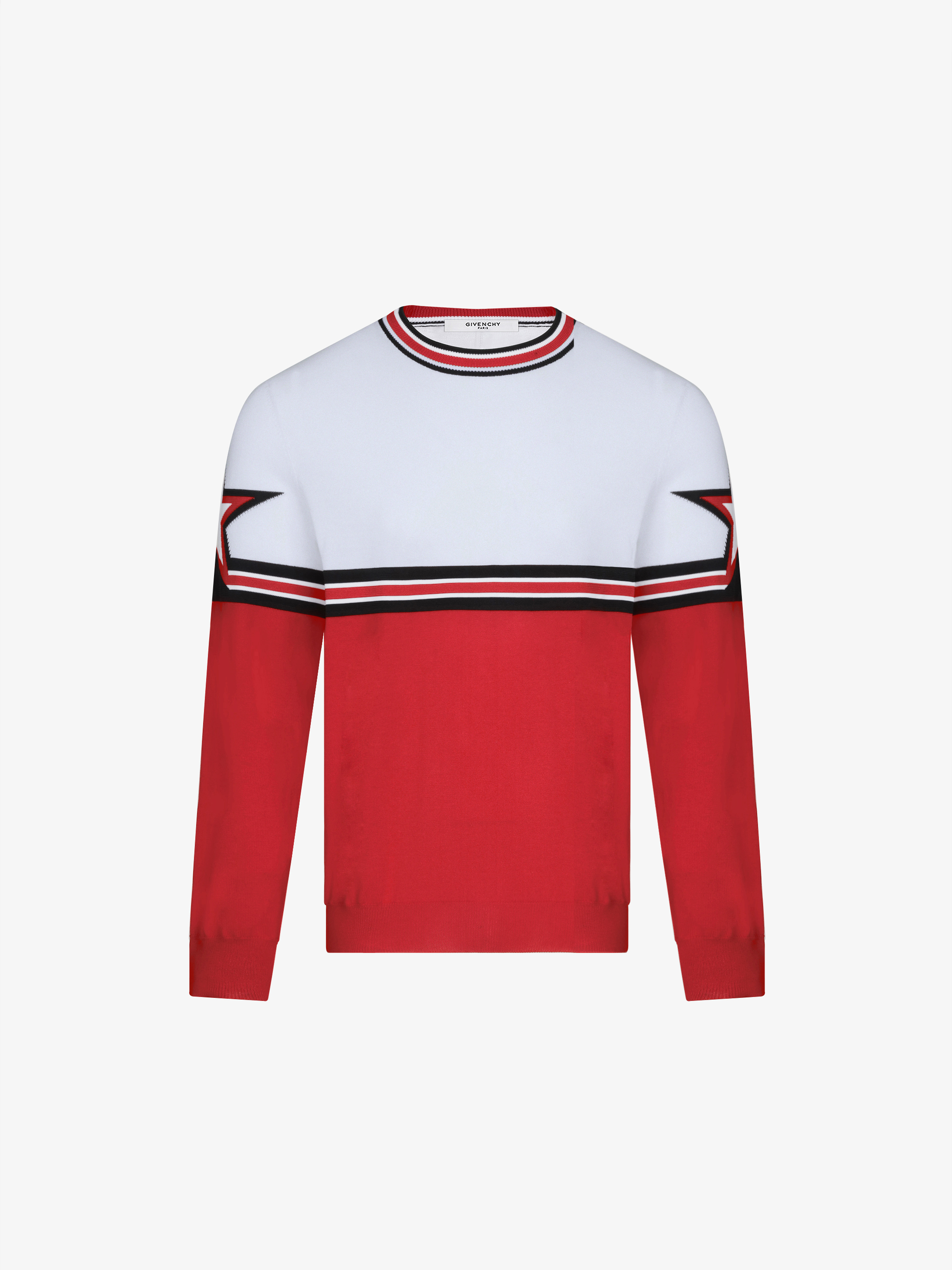 Two tone jacquard sweater