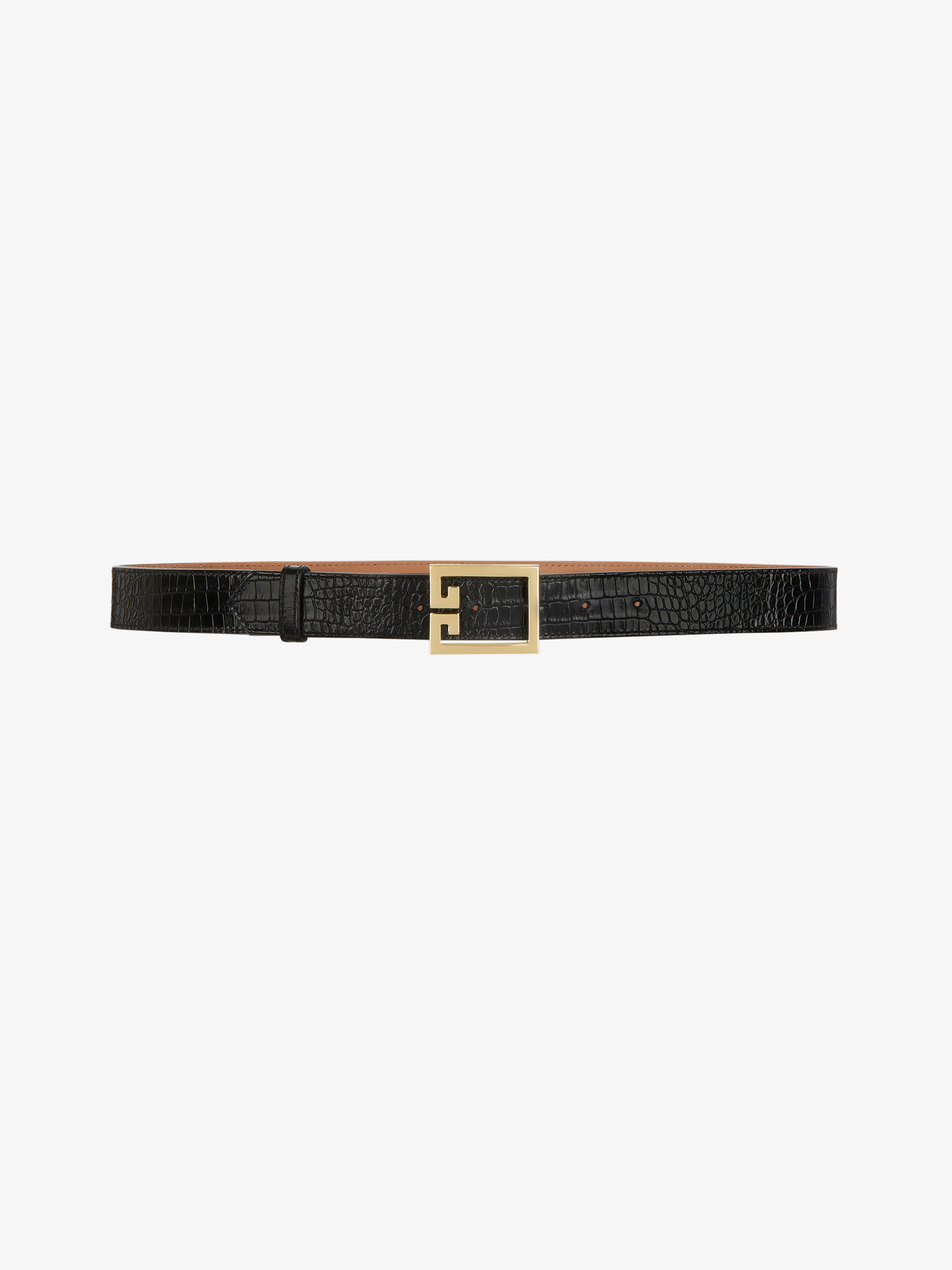 Double G belt in crocodile effect leather