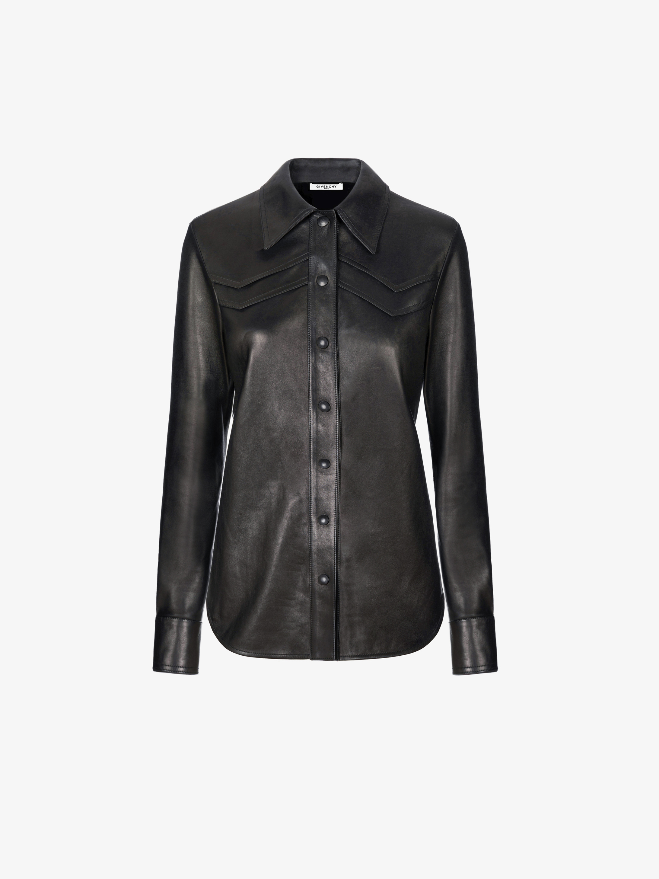 Shirt in soft leather with V details